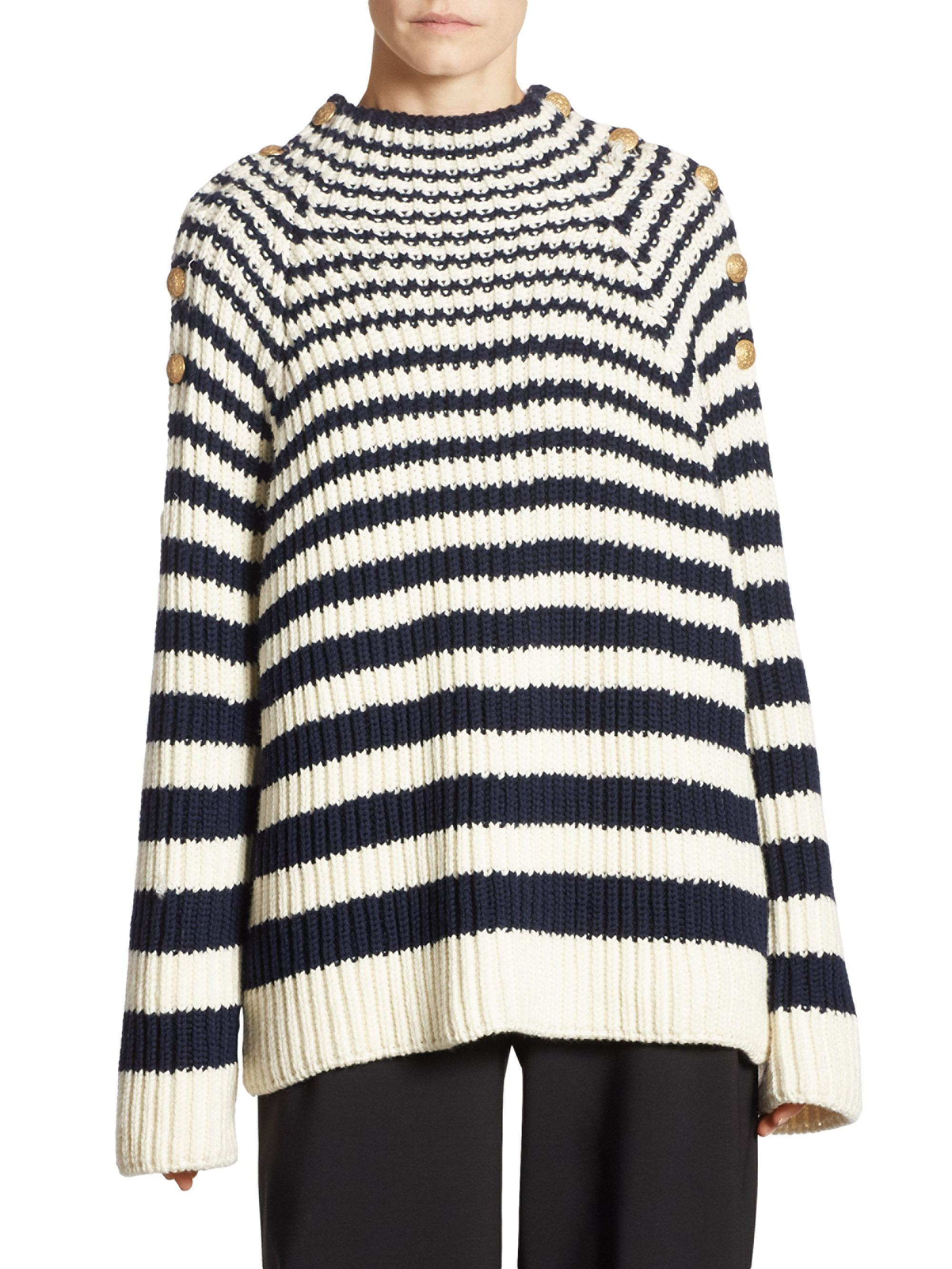 Wool Sweater Grey: Alberta Ferretti Striped Wool Sweater In Blue