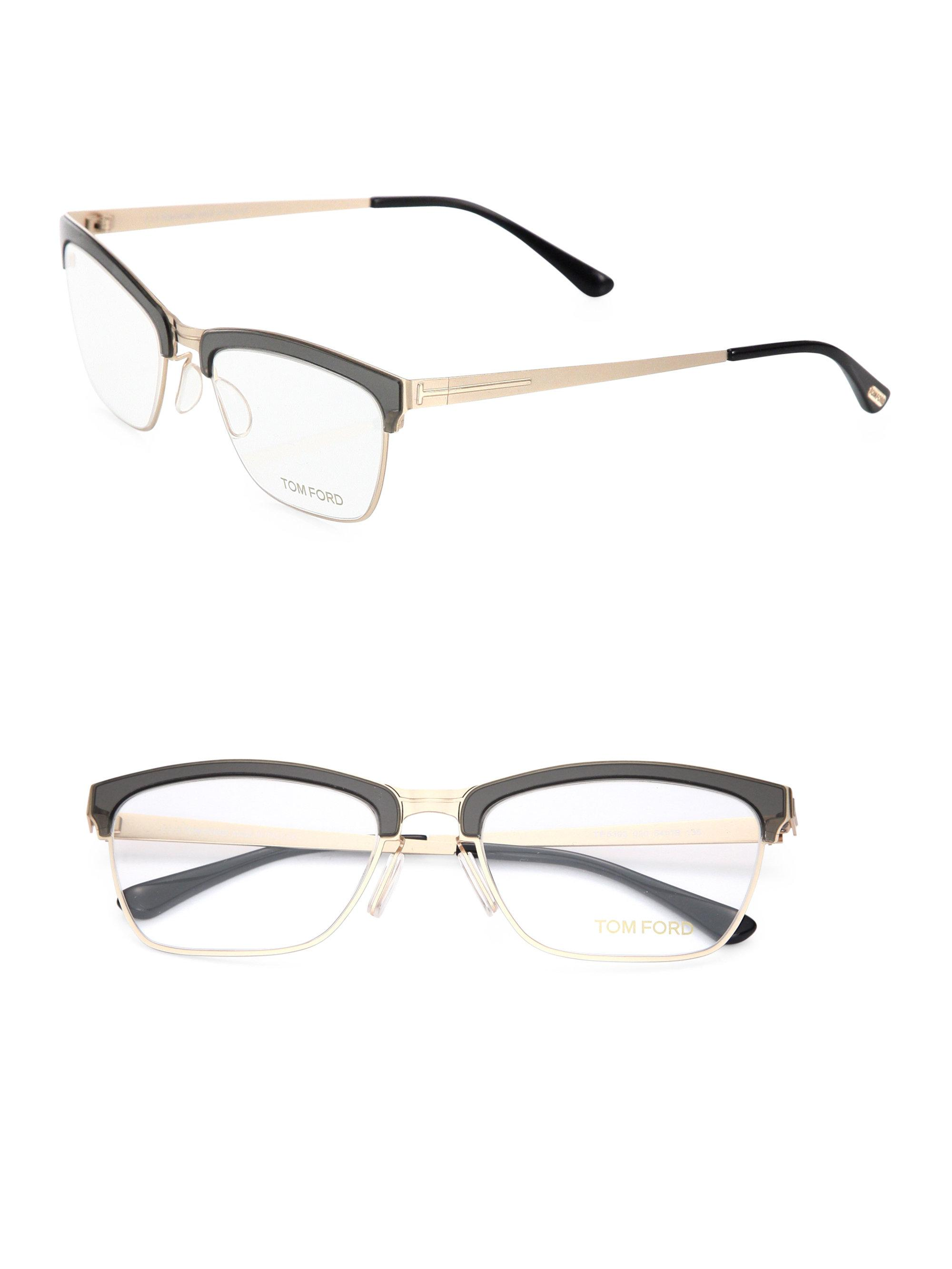 306705e5f85 Tom Ford 54mm Metal Soft Square Optical Glasses in Metallic - Lyst