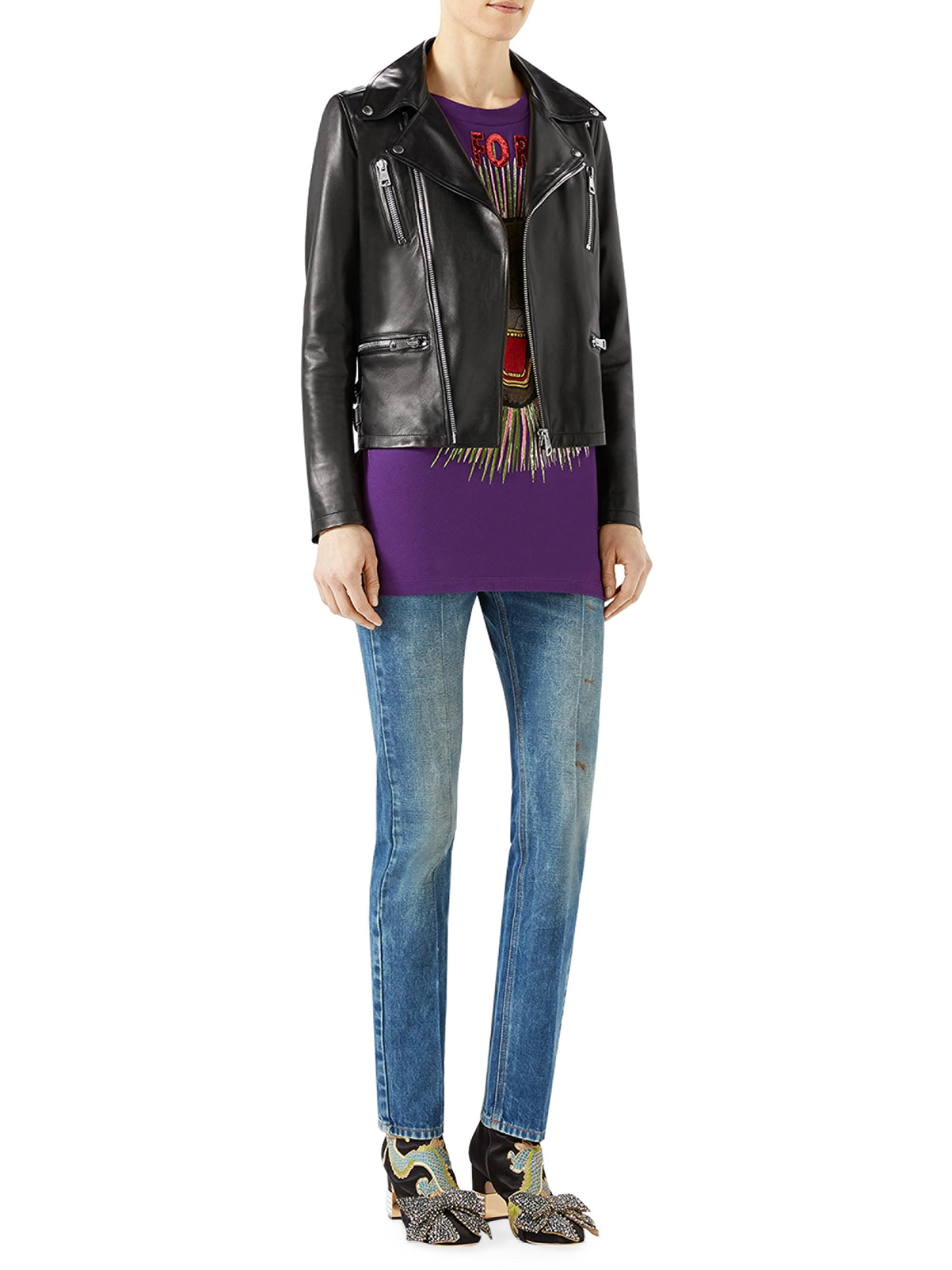 1a73255f2 Gucci Women's Loved Tiger-embroidered Leather Jacket - Black in ...