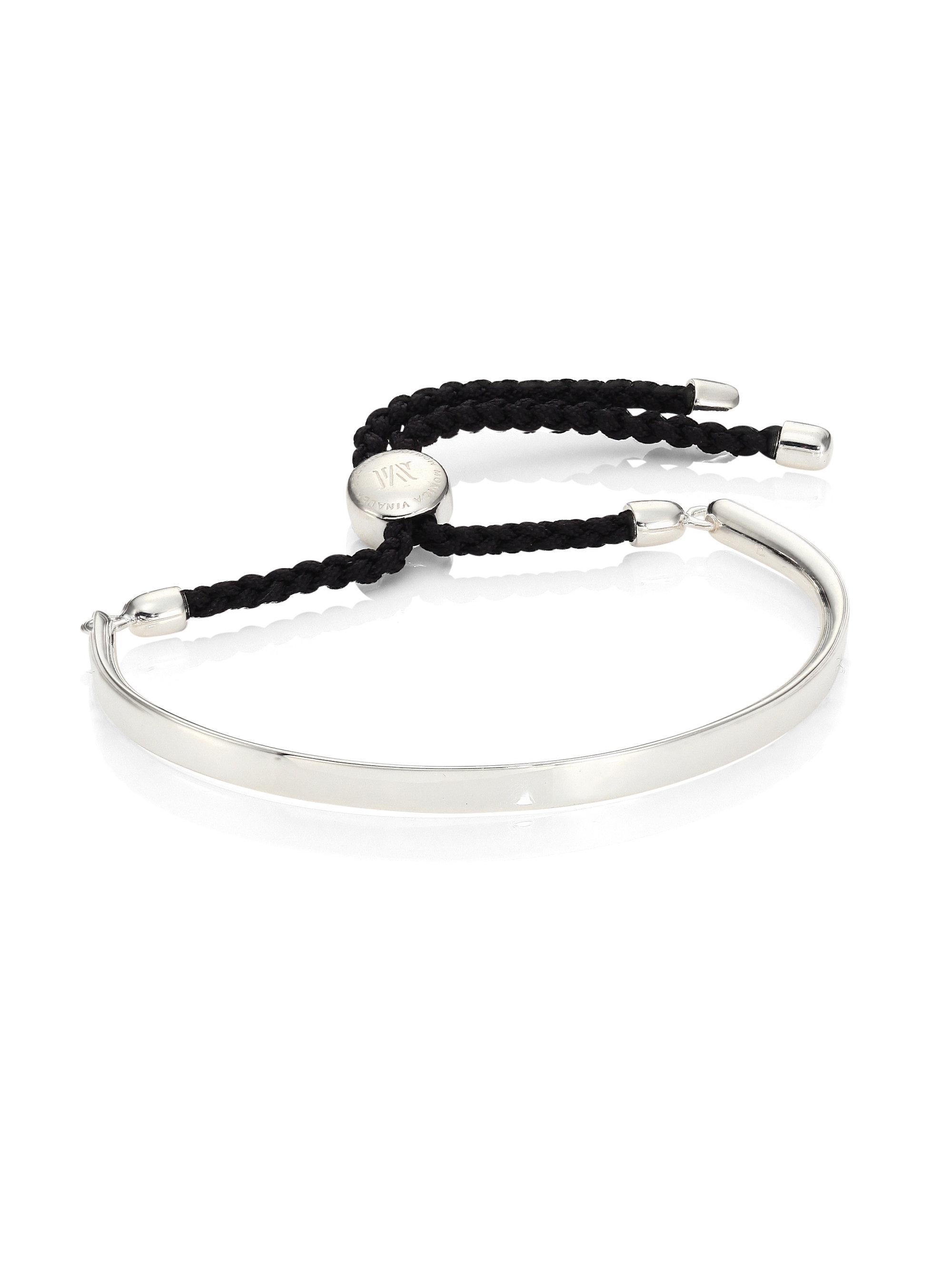 Fiji Friendship Bracelet - Black, Sterling Silver Monica Vinader