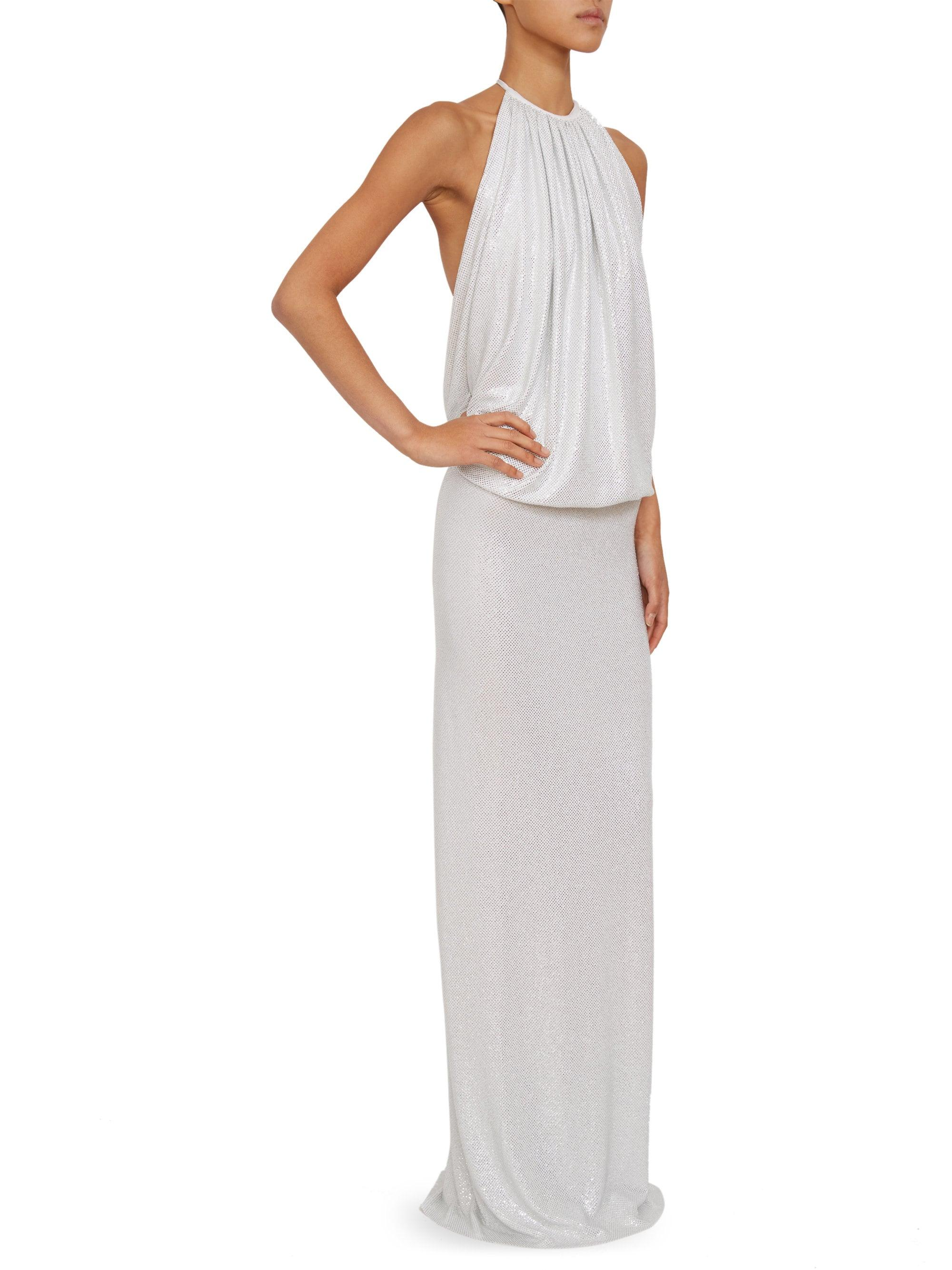 1e7321c9 Lyst - Alexandre Vauthier Microcrystal Halterneck Gown in White