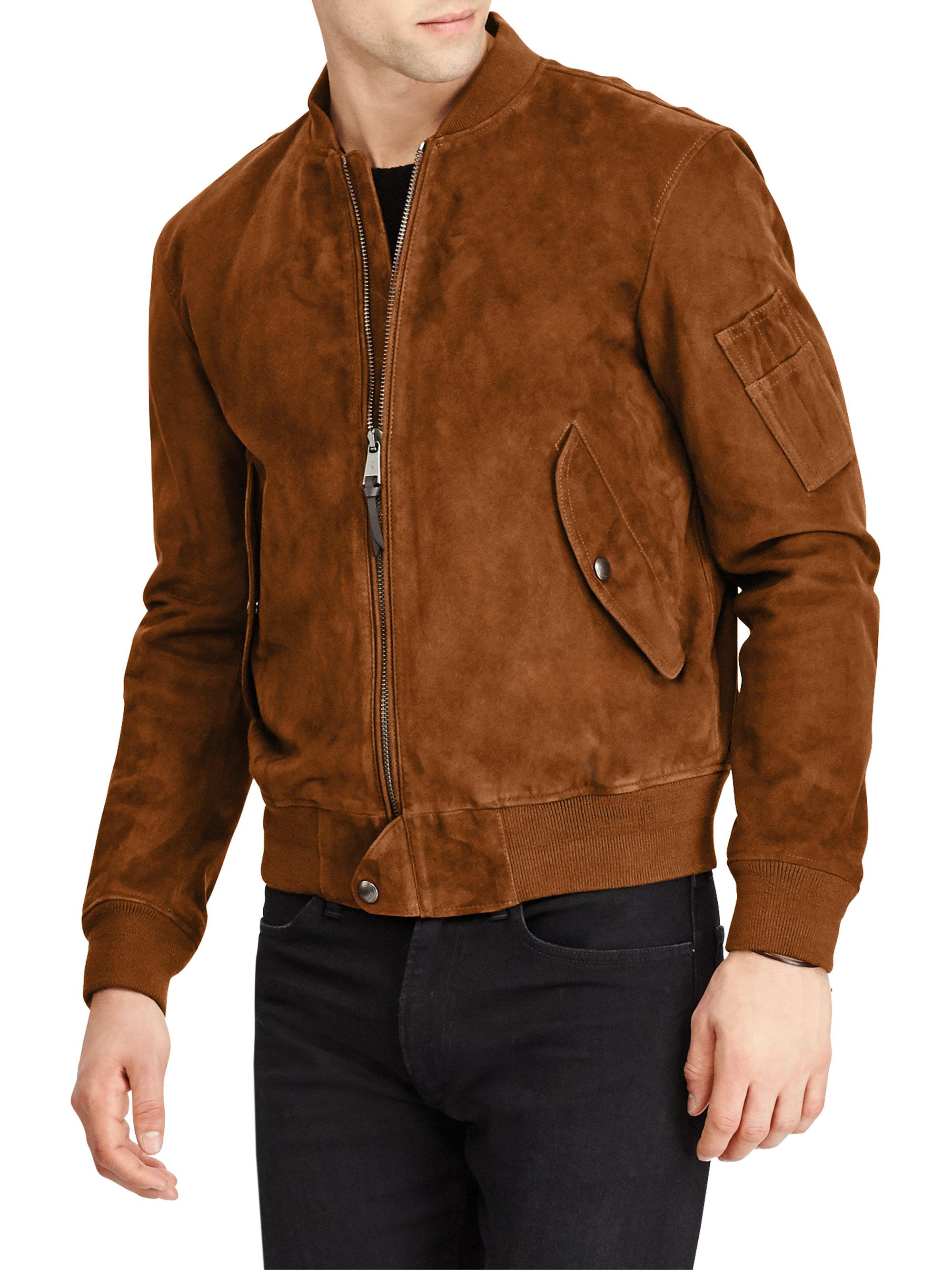 Polo Ralph Lauren. Men\u0027s Brown Suede Gunners Bomber Jacket