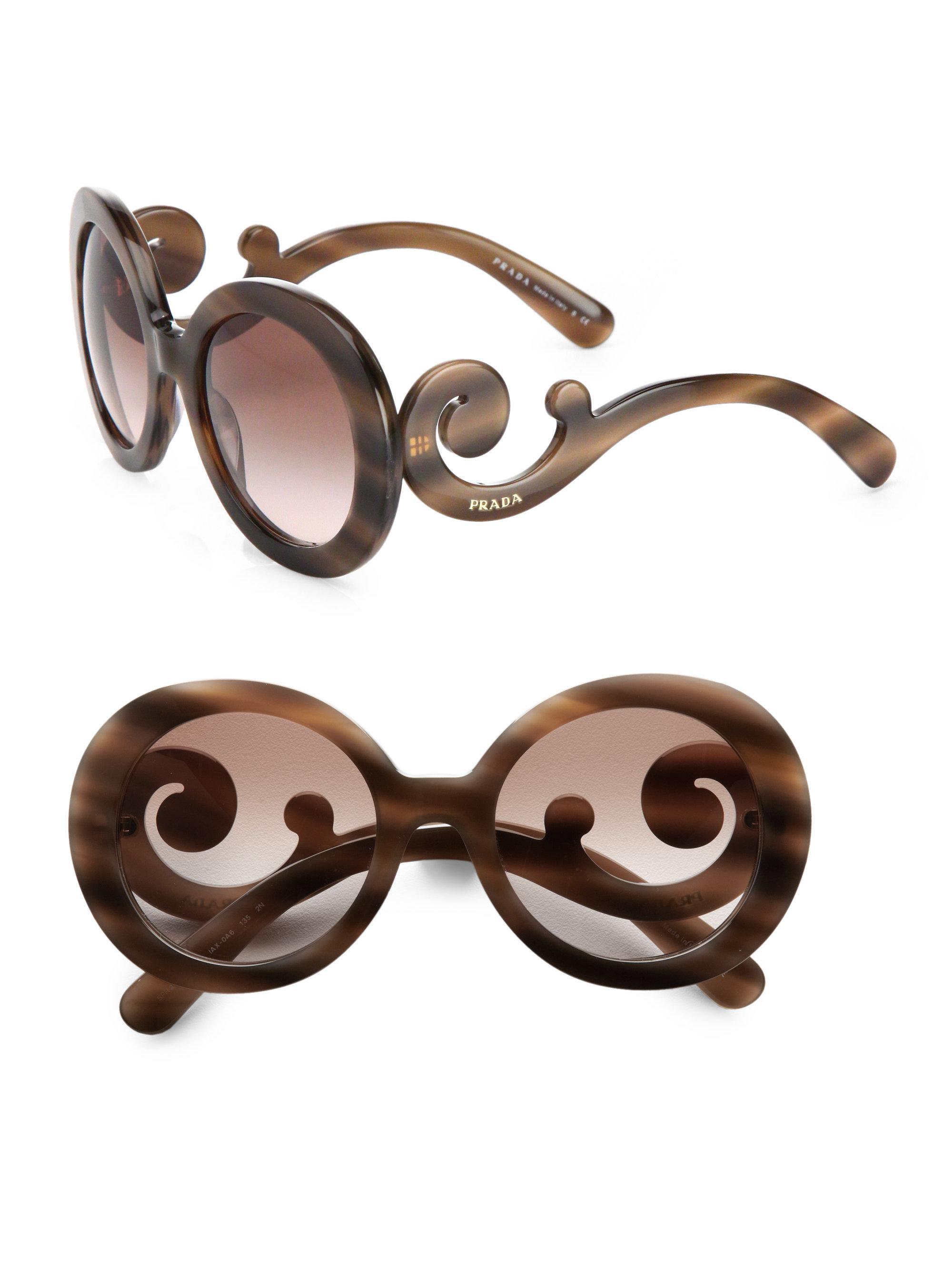 7d7adf6d01e ... clearance lyst prada 55mm baroque round sunglasses in purple 7ff32 de8ed