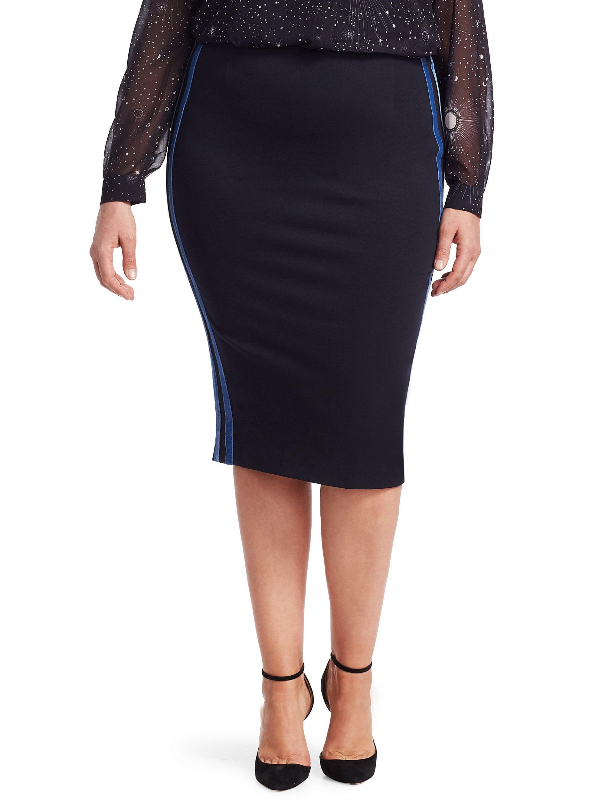 fe67e45496 Marina Rinaldi. Blue , Plus Size Women's Jersey Pencil Skirt - Dark Navy ...