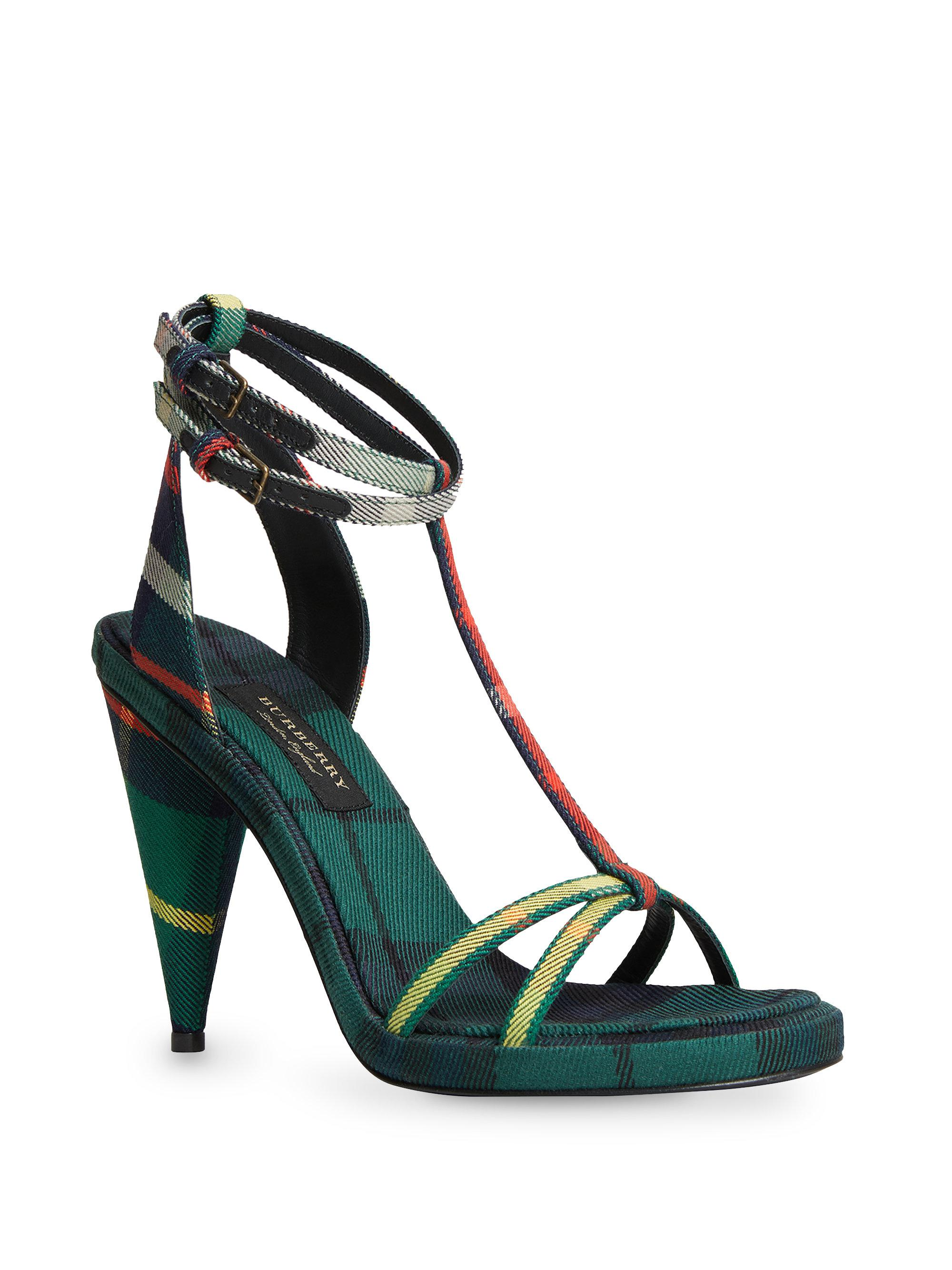 1dc3d5903254 Lyst - Burberry Hans High Heel Sandals in Green