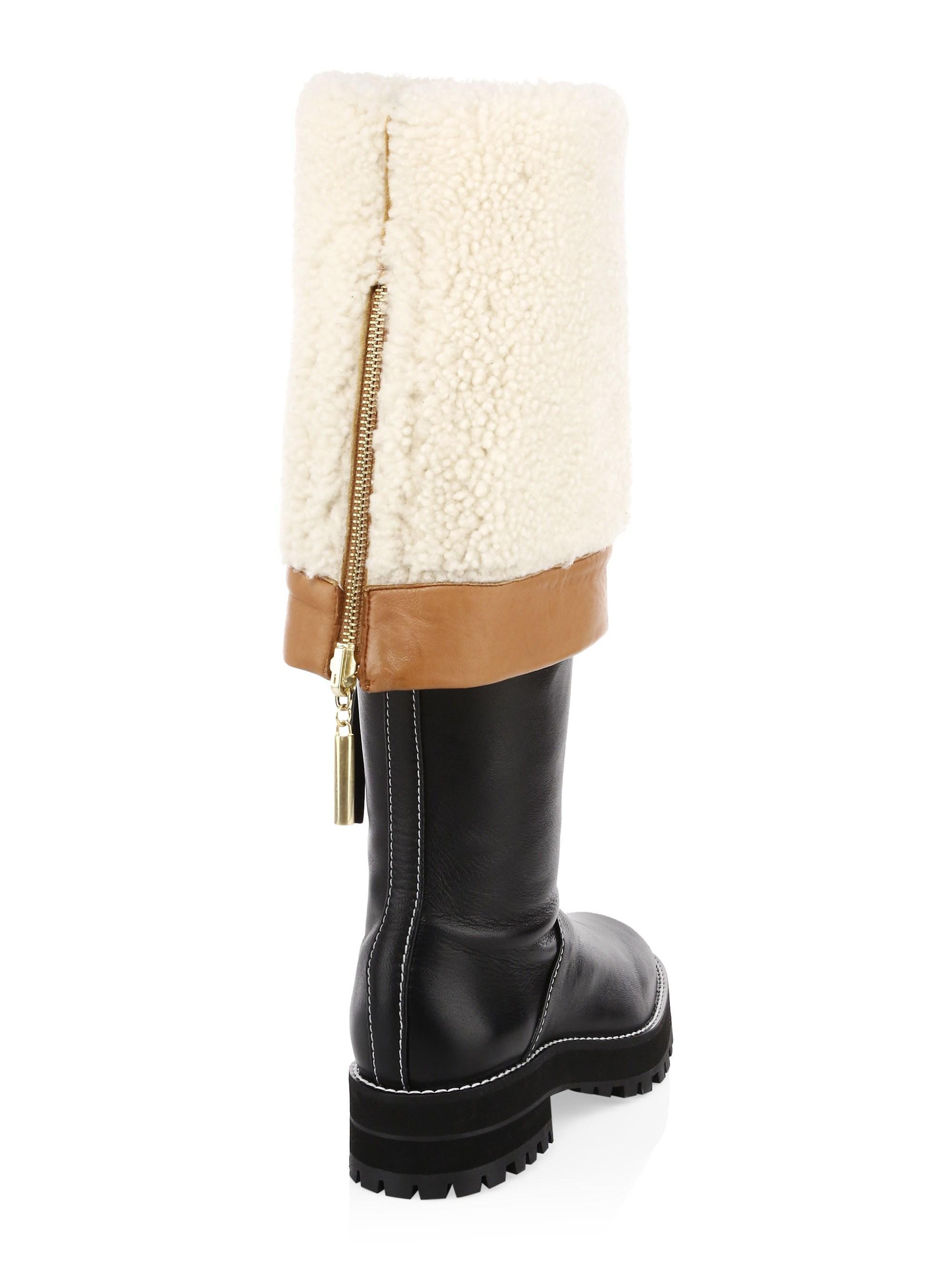 8c5aaa41ea2 Lyst - Stuart Weitzman Women s Renata Shearling-lined Leather Knee ...