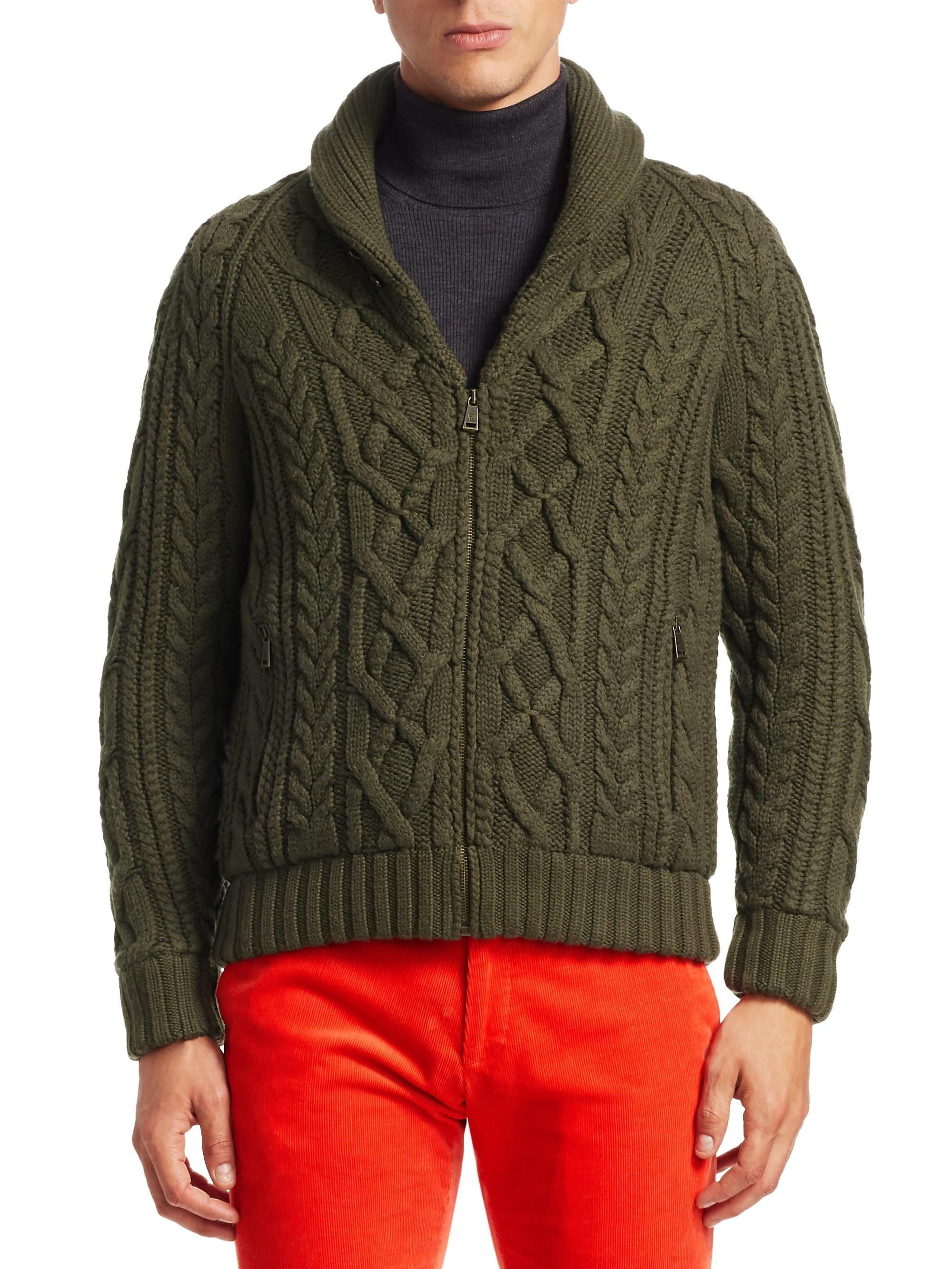 e53042b54 Ralph Lauren Purple Label Men s Rlx Cable Knit Zip Cardigan - Green ...
