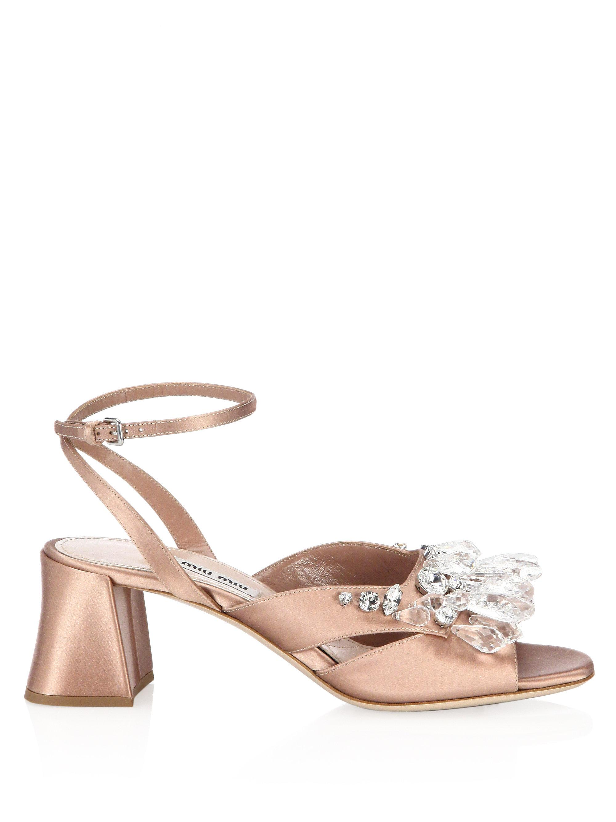 465096afe0 Miu Miu Crystal Block Heel Sandals in Natural - Lyst