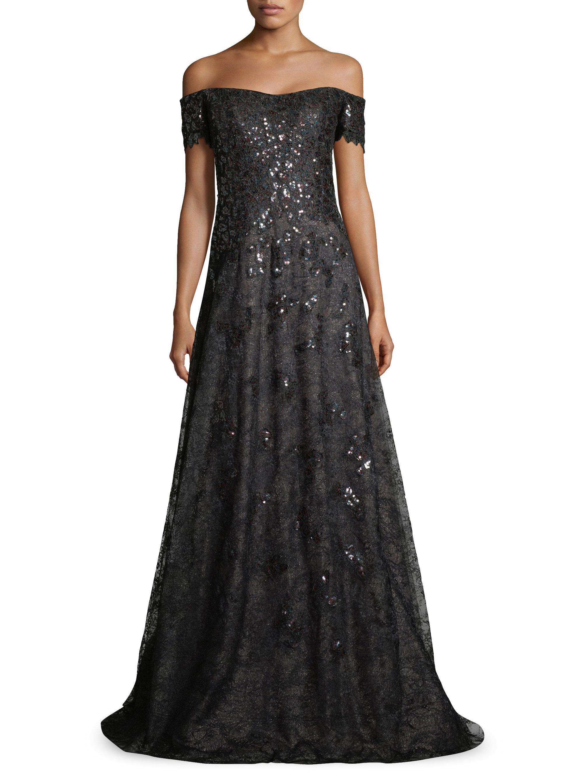 Lyst - Rene Ruiz Off-the-shoulder Sequin & Tulle Gown in Black