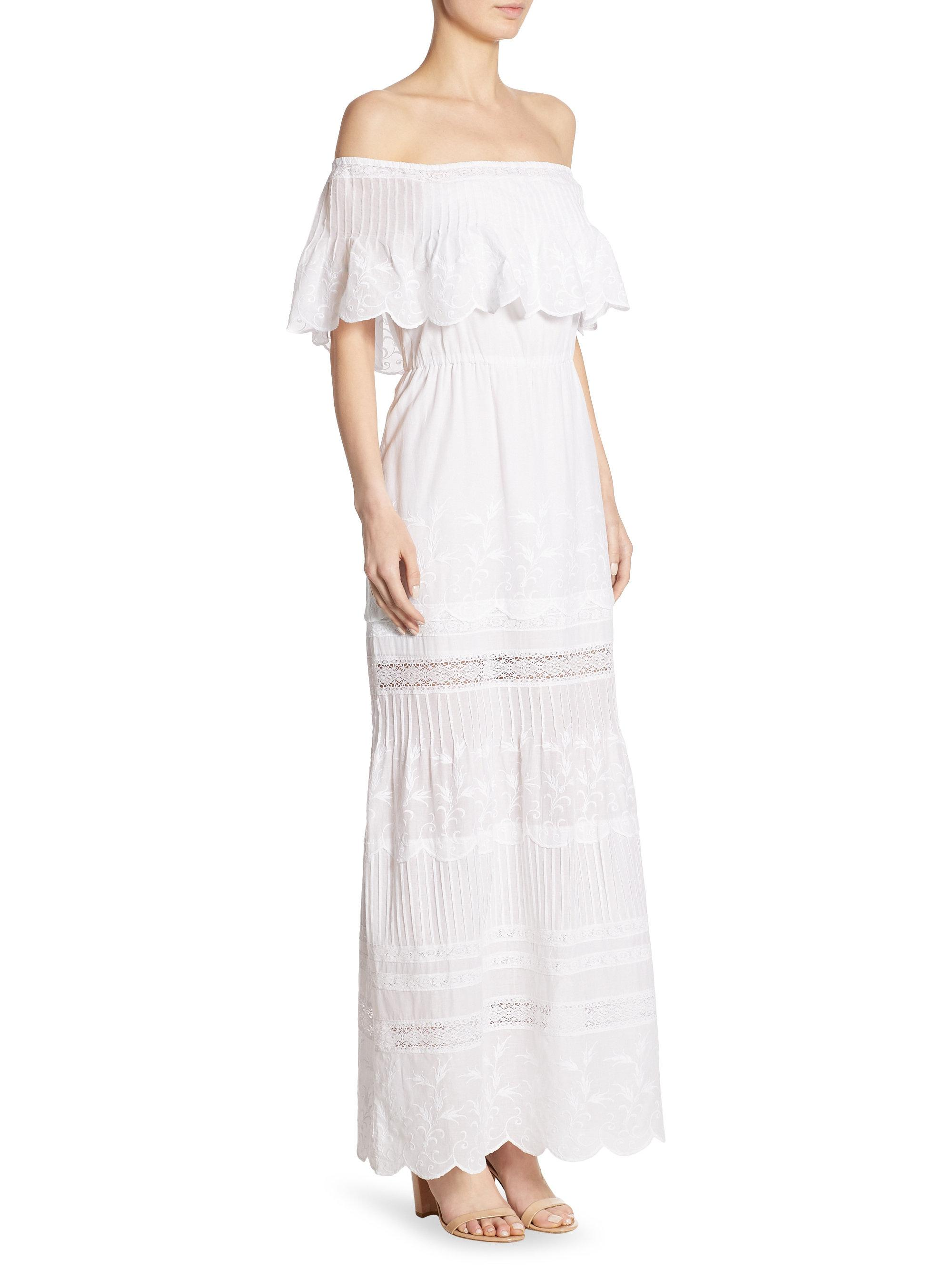 f93c855dd61b Lyst - Alice + Olivia Pansy Embroidered Off-the-shoulder Maxi Dress ...