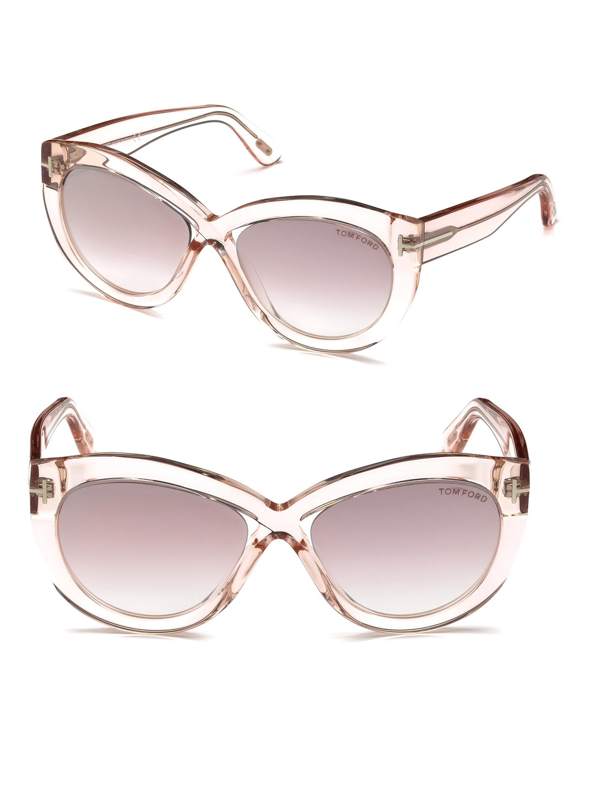 e2e6ca0b0c Tom Ford Diane 56mm Cate Eye Cross Front Sunglasses in Pink - Lyst