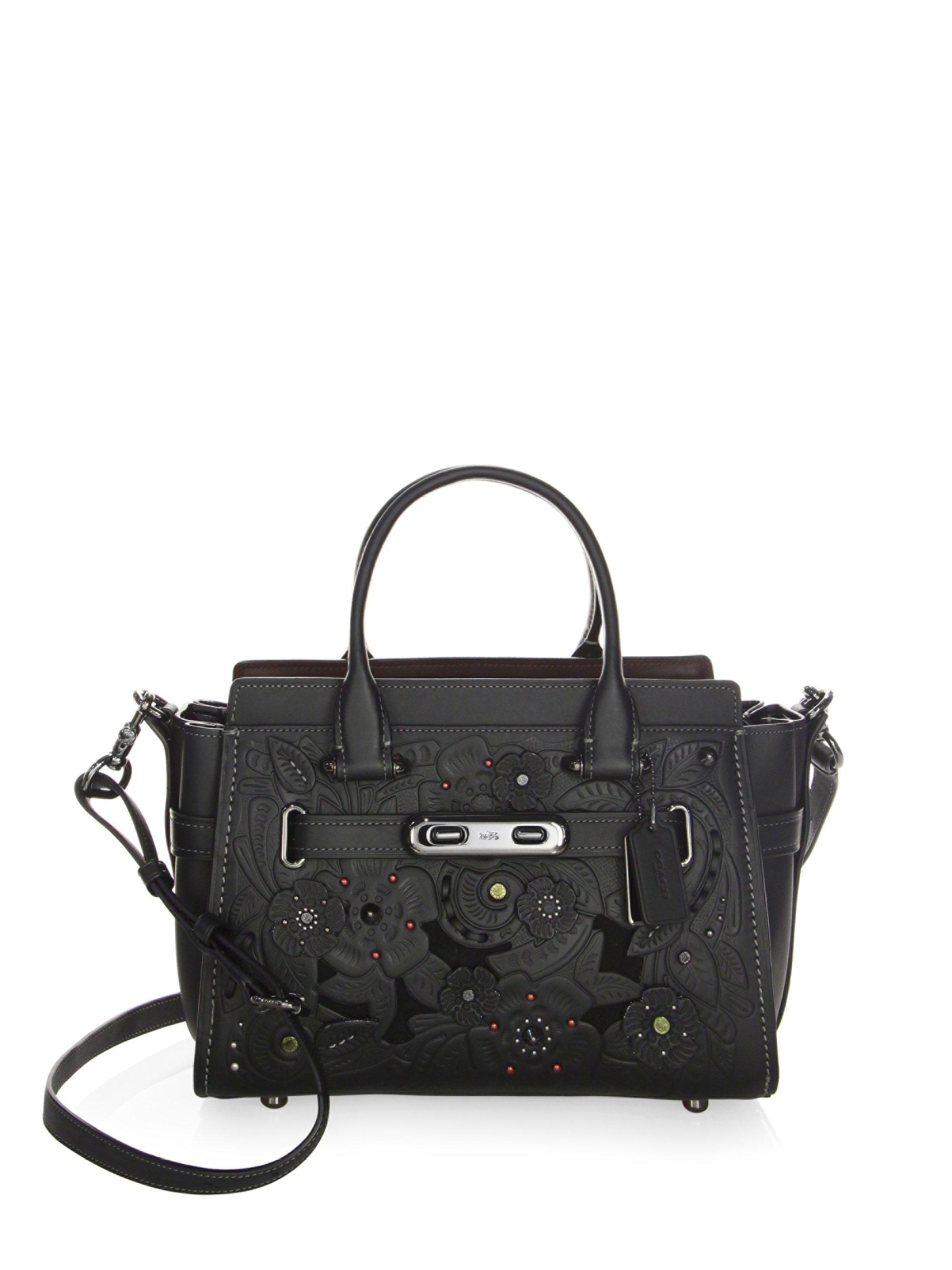 7f6bff7631 italy coach ashley black leather satchel 19247 404c4 f7157  shop lyst coach  flower leather satchel in black 82458 20c24