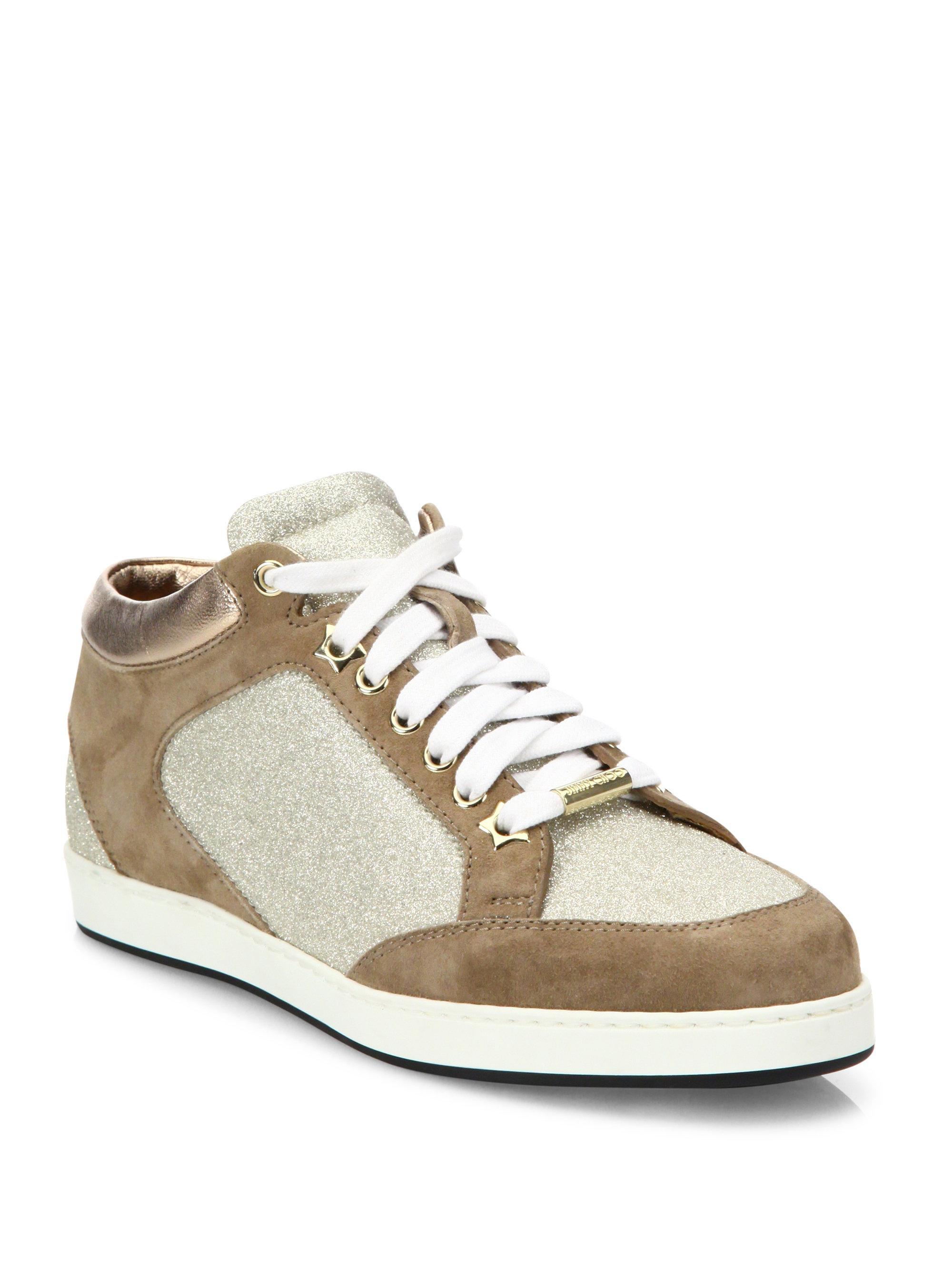 Jimmy choo Sneakers MIAMI suede brown glitter platin 3c6uV