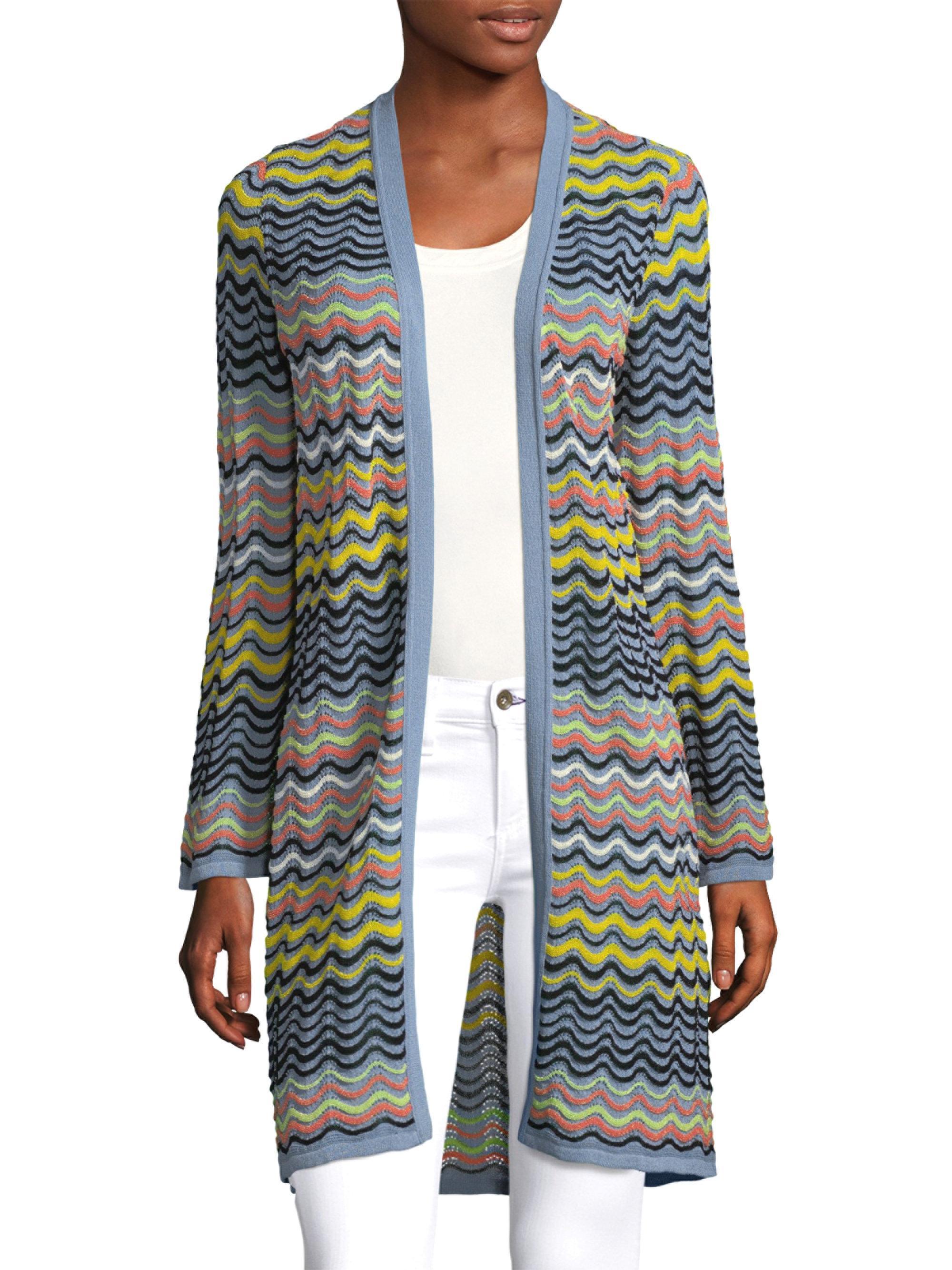 M Missoni. Women's Gray Wave Ripple Knit Cardigan