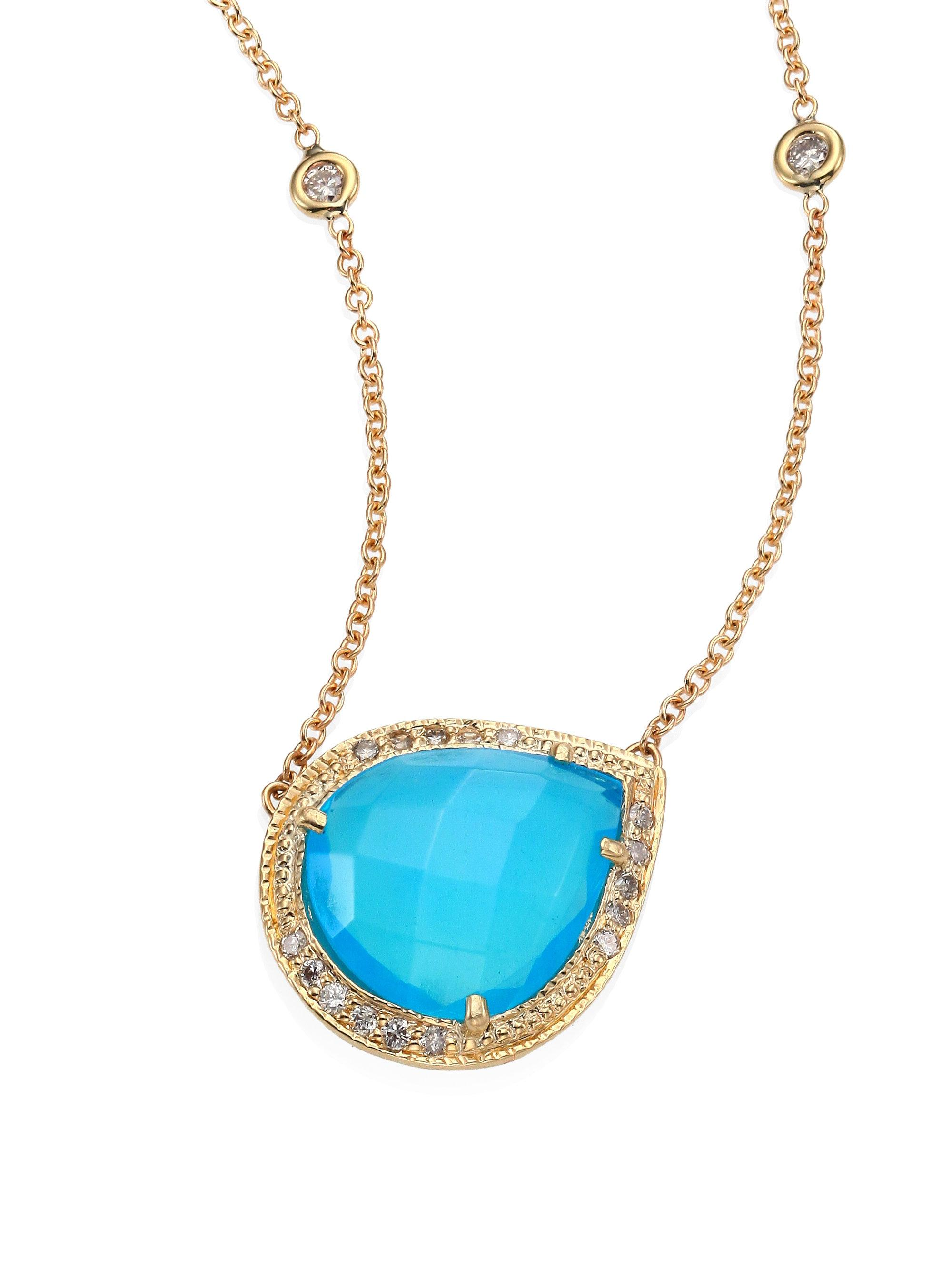 Jacquie Aiche Pavé Diamond Teardrop Necklace in 14K Rose Gold W17HZMb