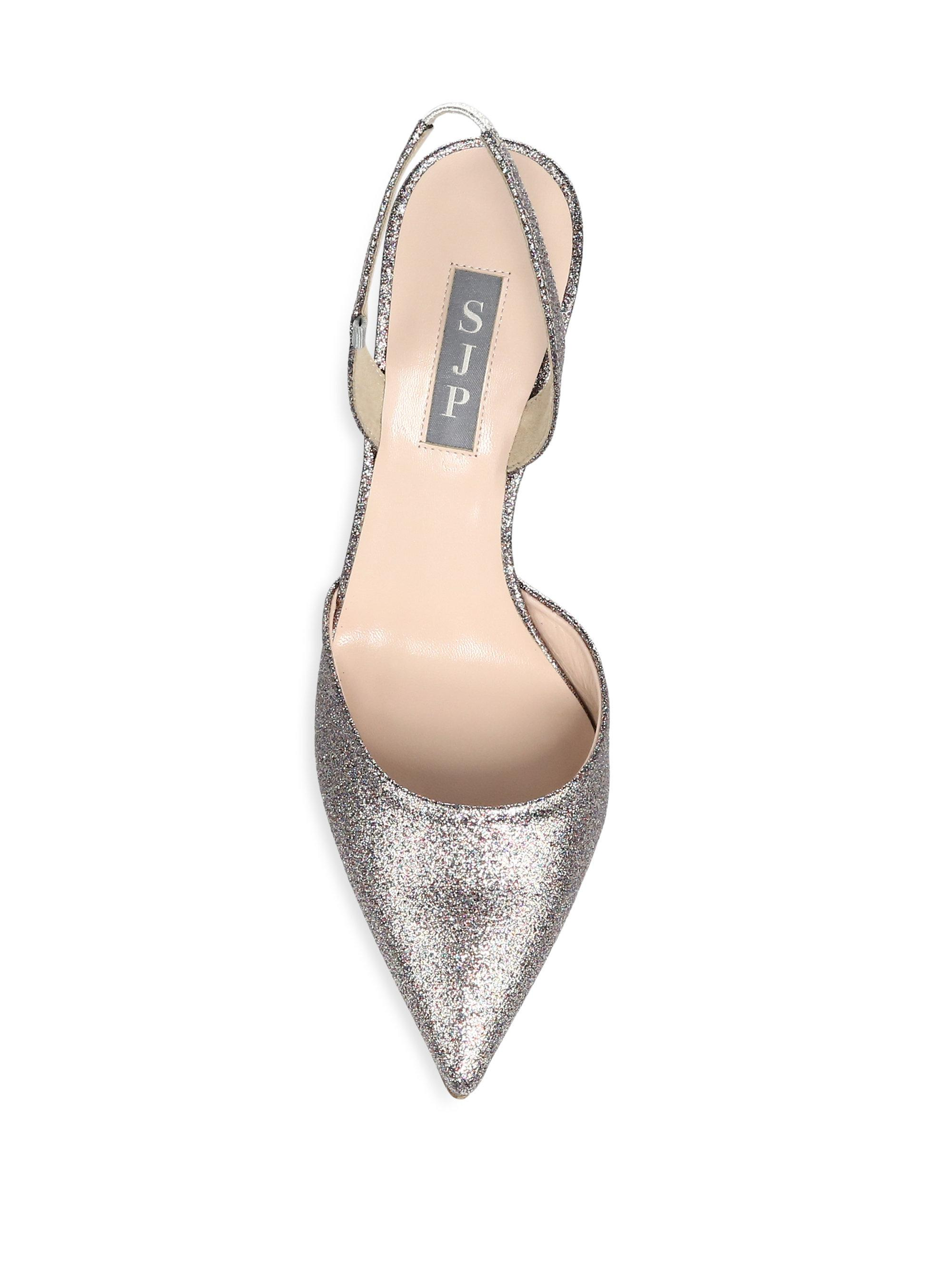 Sjp Bliss Glitter Slingback Pumps
