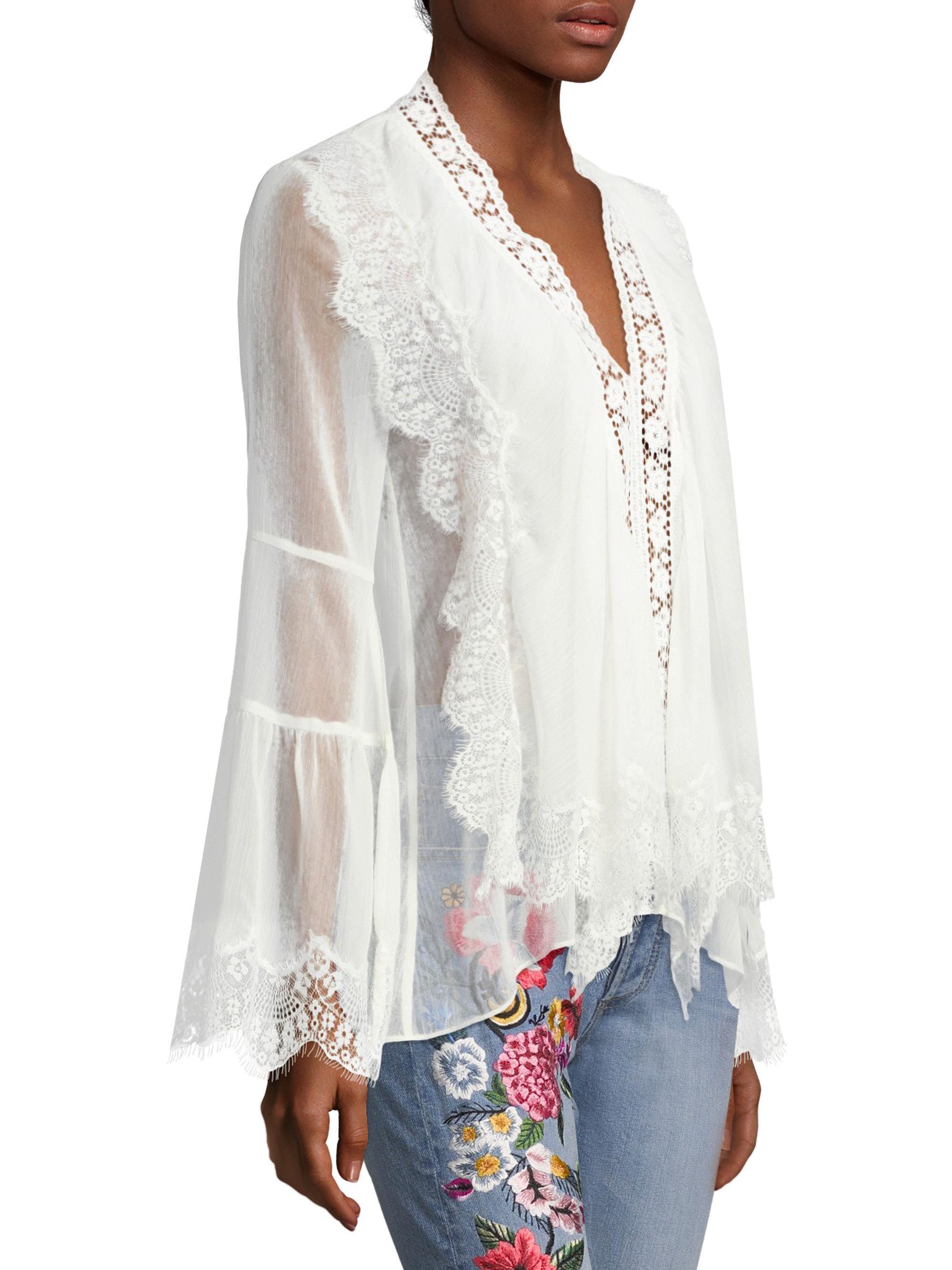 Shop Cheap Price Jaden Lace-paneled Gauze Blouse - Off-white Alice & Olivia Cheap Real Clearance Visit New Buy Cheap Fast Delivery Cheap Sale Sneakernews Tu3N1