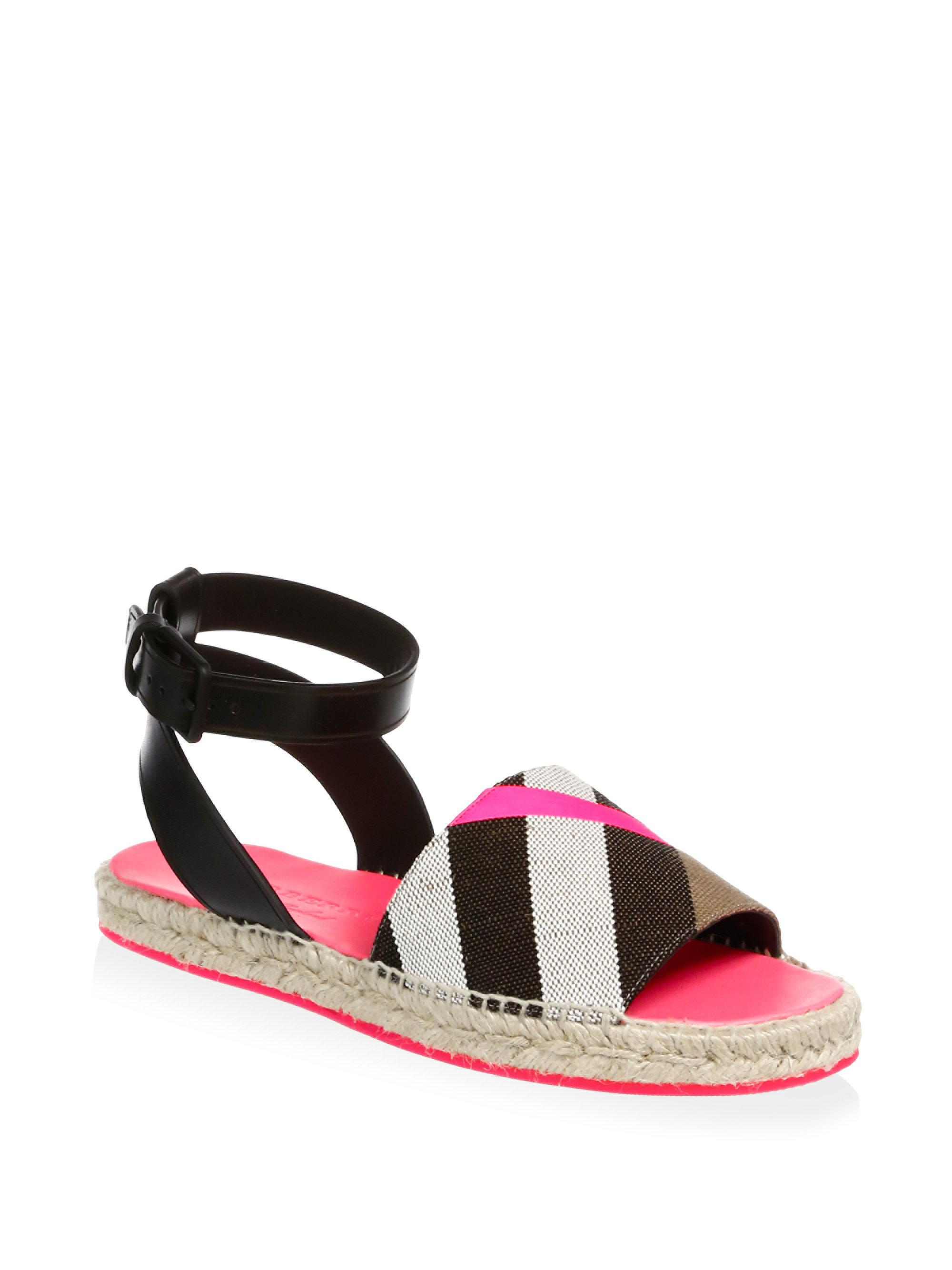 Lyst Burberry Stripe Ankle Strap Espadrilles