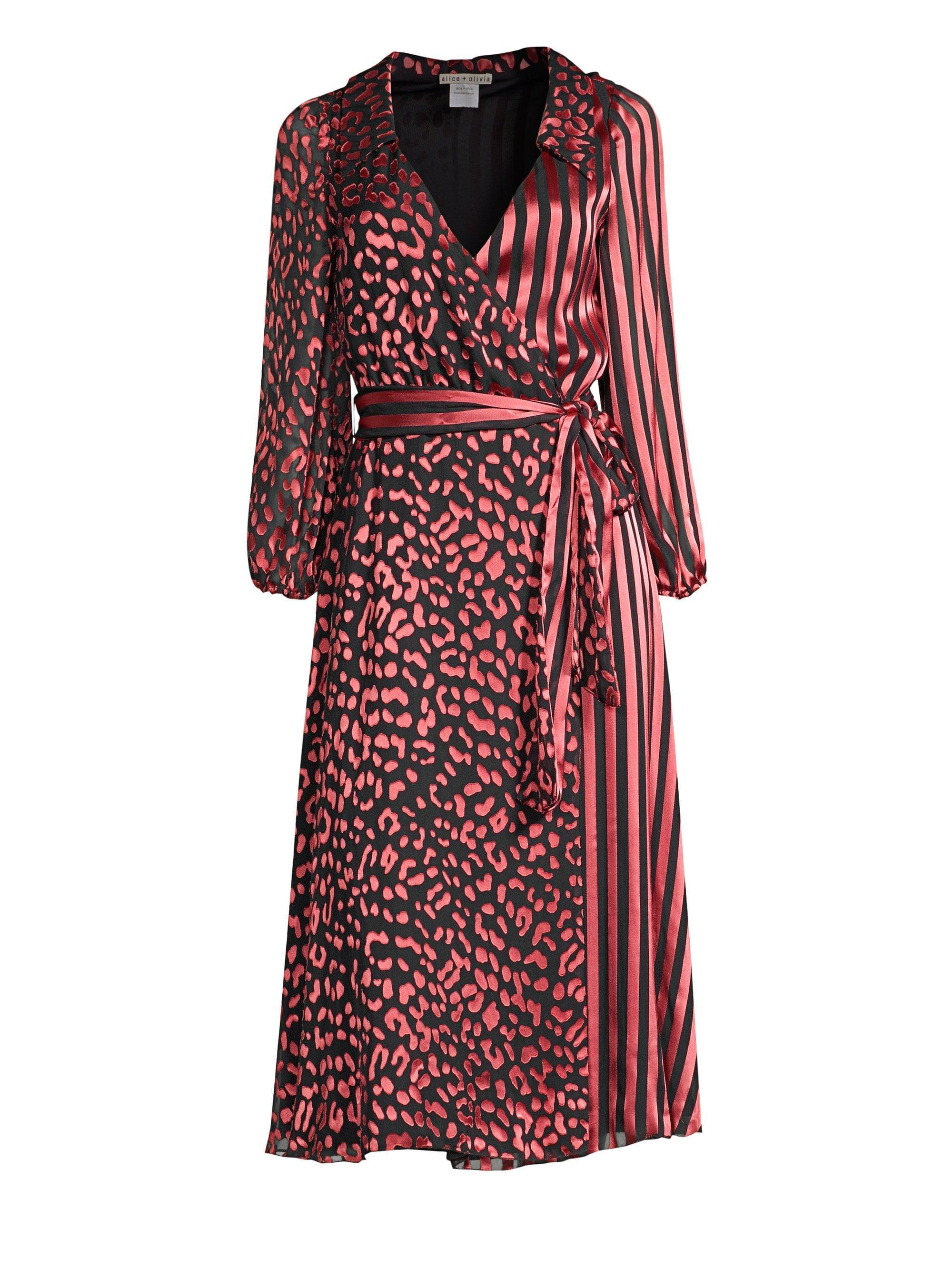 Lyst - Alice + Olivia Abigail Metallic Leopard   Stripe Stretch Silk ... 8f636238b