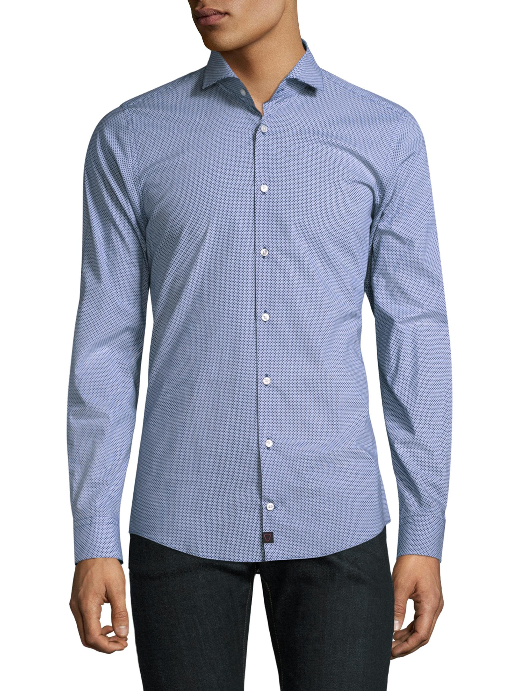 A dress shirt, button shirt, button-front, button-front shirt, or button-up shirt is a garment with a collar and a full-length opening at the front, which is fastened using buttons or shirt studs.A button-down or button-up shirt is a dress shirt which has a button-down collar – a collar having the ends fastened to the shirt with buttons.. Dress shirts are normally made from woven cloth, and.