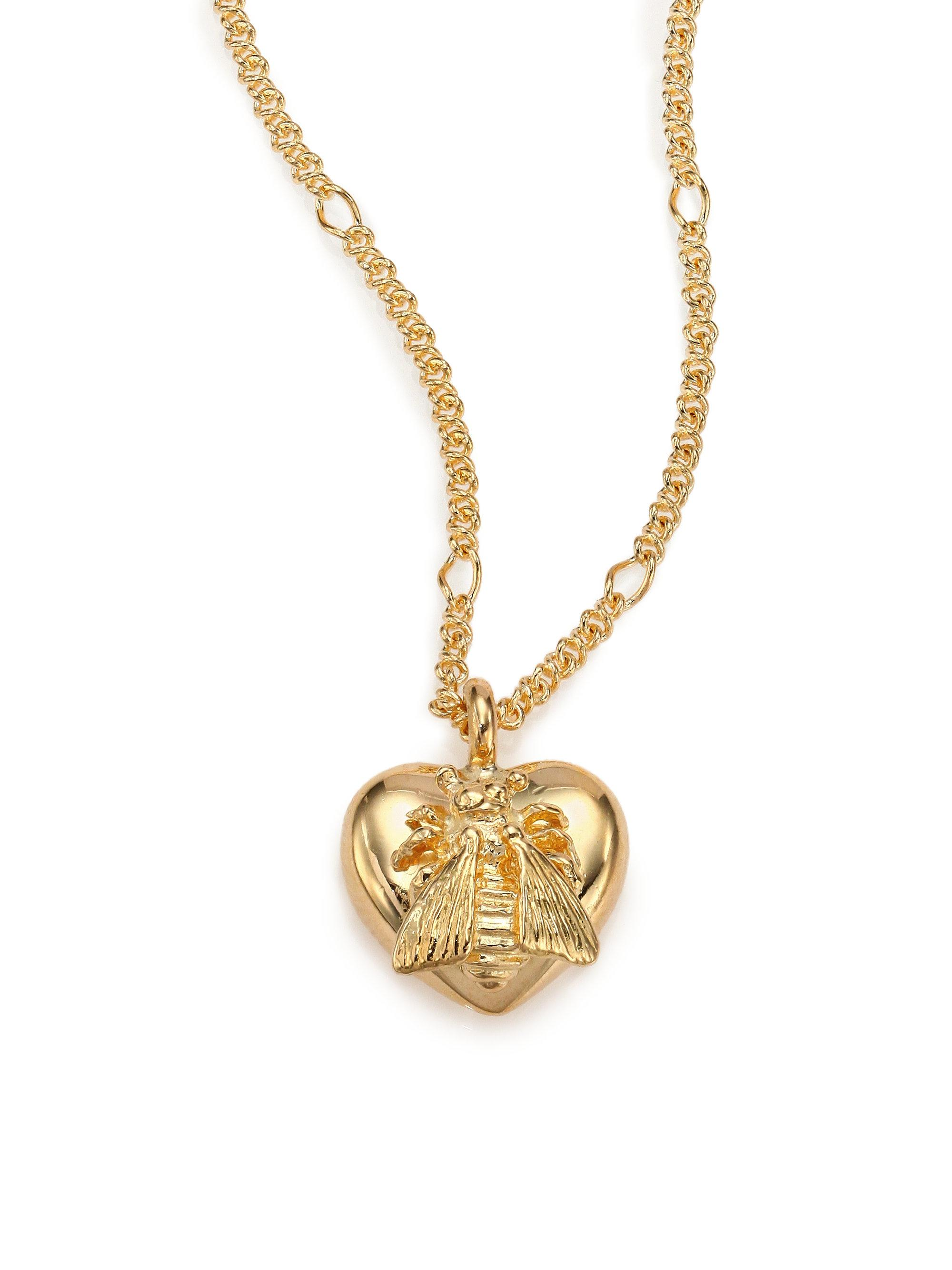 9fd0b0619 Gucci 18k Yellow Gold Bee Heart Pendant Necklace in Metallic - Lyst