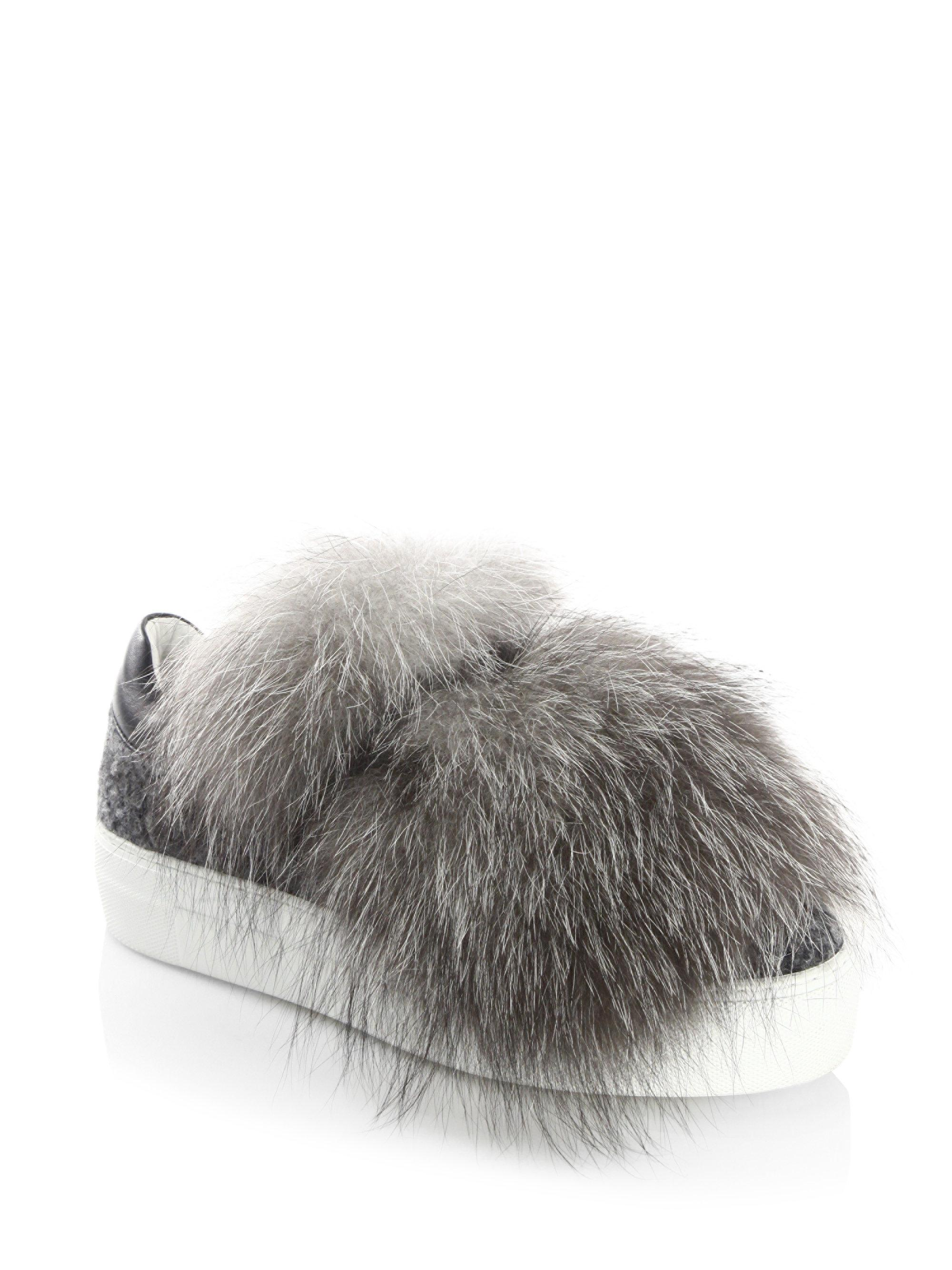 Moncler Fox Fur & Leather Sneakers IMdAwZhhi