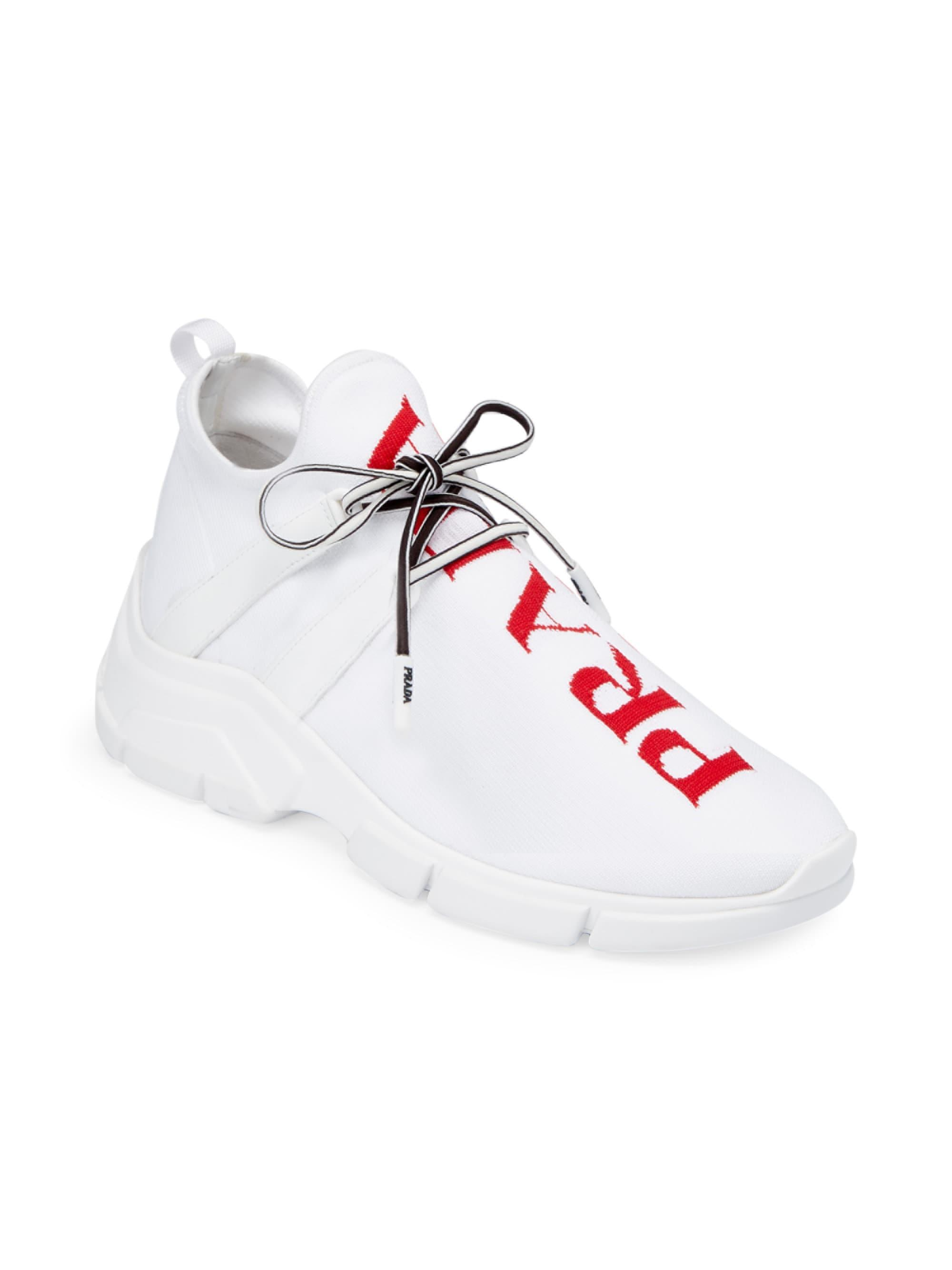 Prada - White Logo Knit Sneakers - Lyst. View fullscreen 52f623fc03