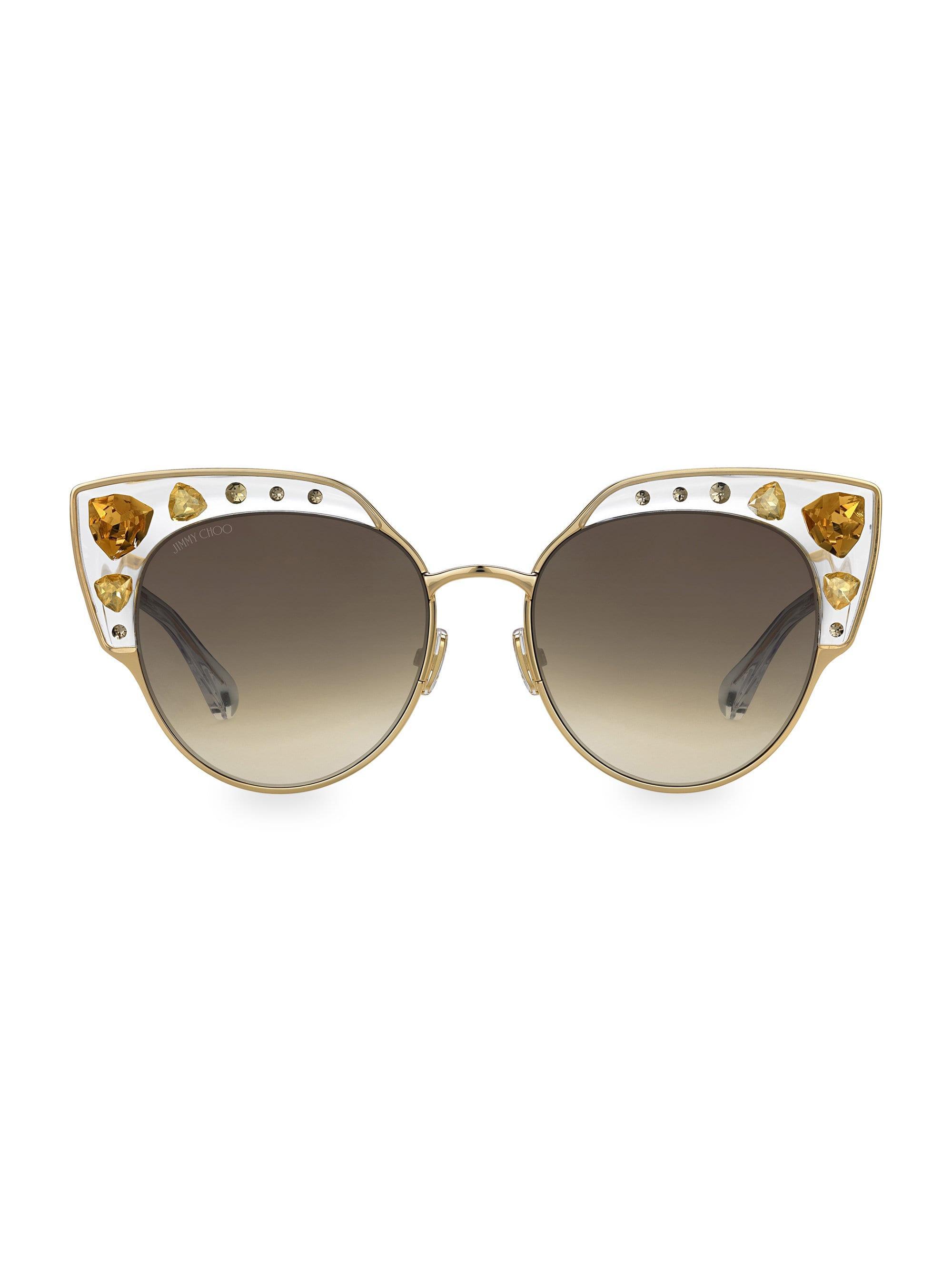 c6cb8bd2586 Lyst - Jimmy Choo Women s Audrey 54mm Cat Eye Sunglasses - Gold in ...