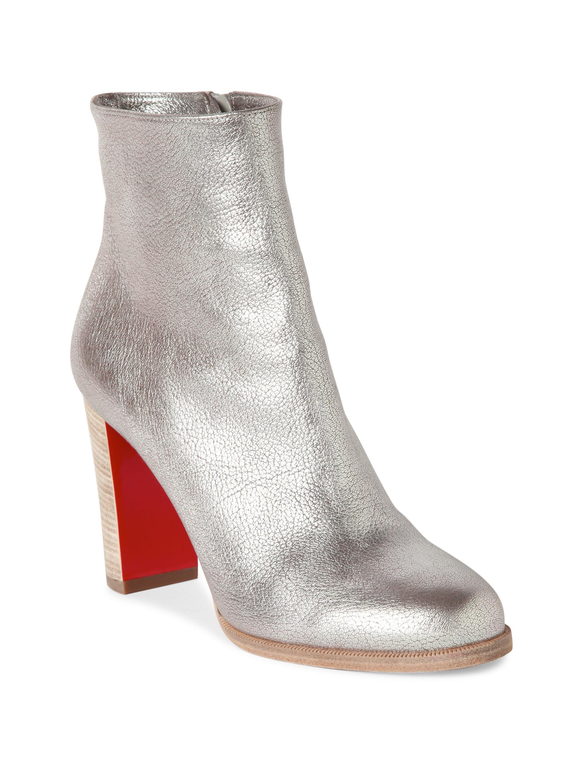 211a83e9c6d8 Lyst - Christian Louboutin Adox 85 Metallic Leather Booties