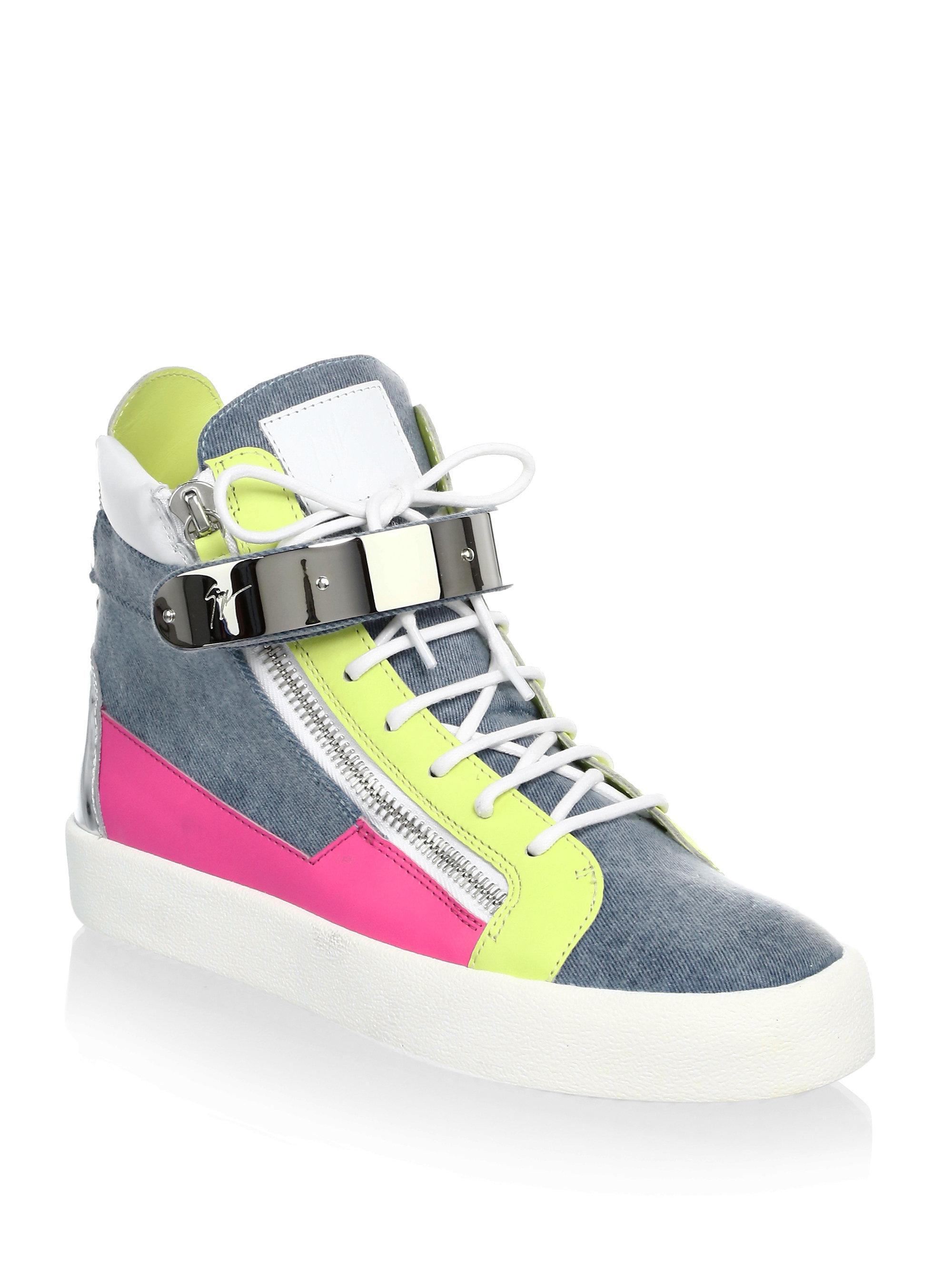 eb0fb87a8003f Giuseppe Zanotti Denim & Leather High-top Sneakers in Blue - Lyst