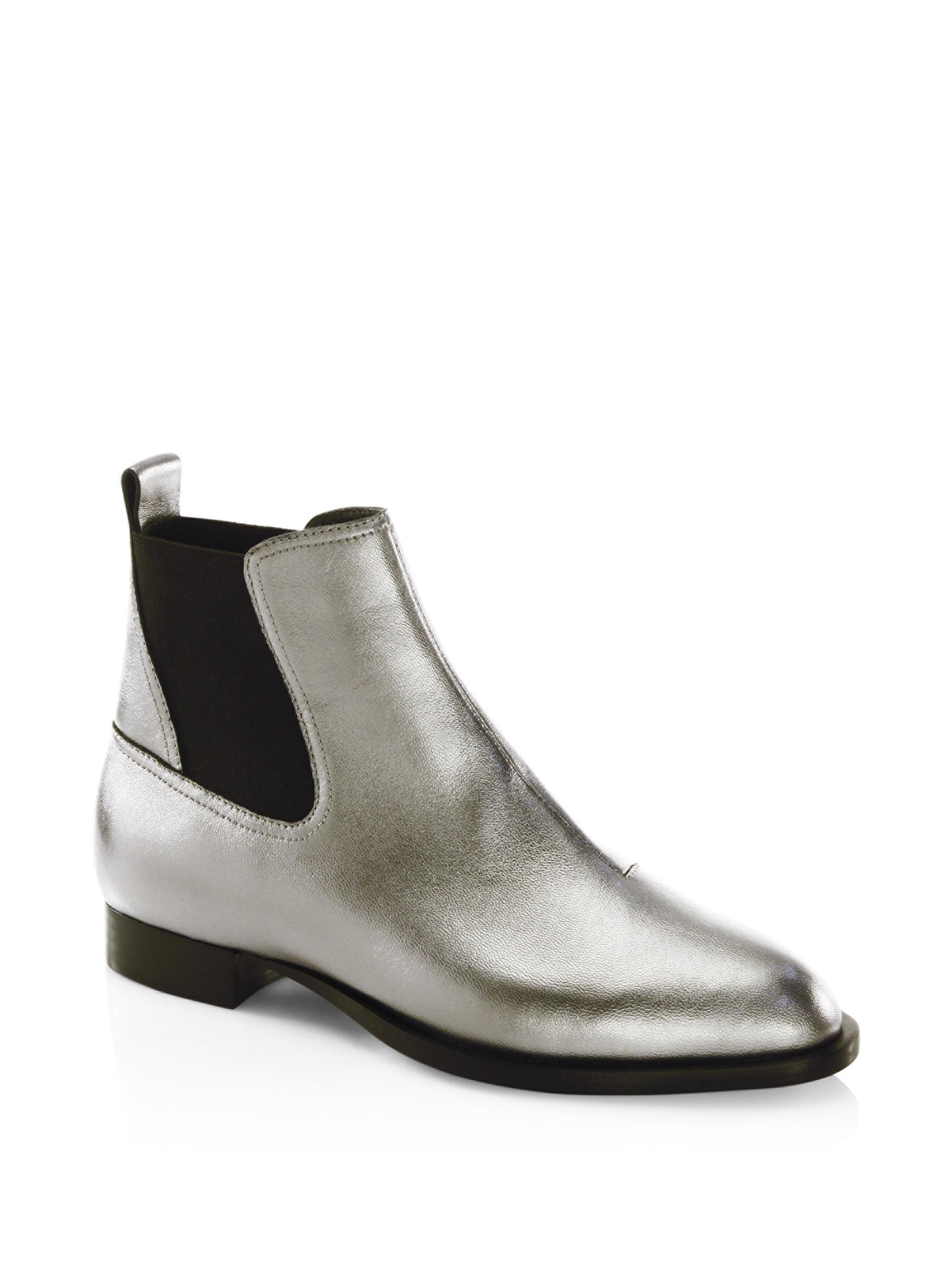 RAG&BONE Women's Mason Pointed-Toe Metallic Leather Low-Heel Booties SmLiHUfg