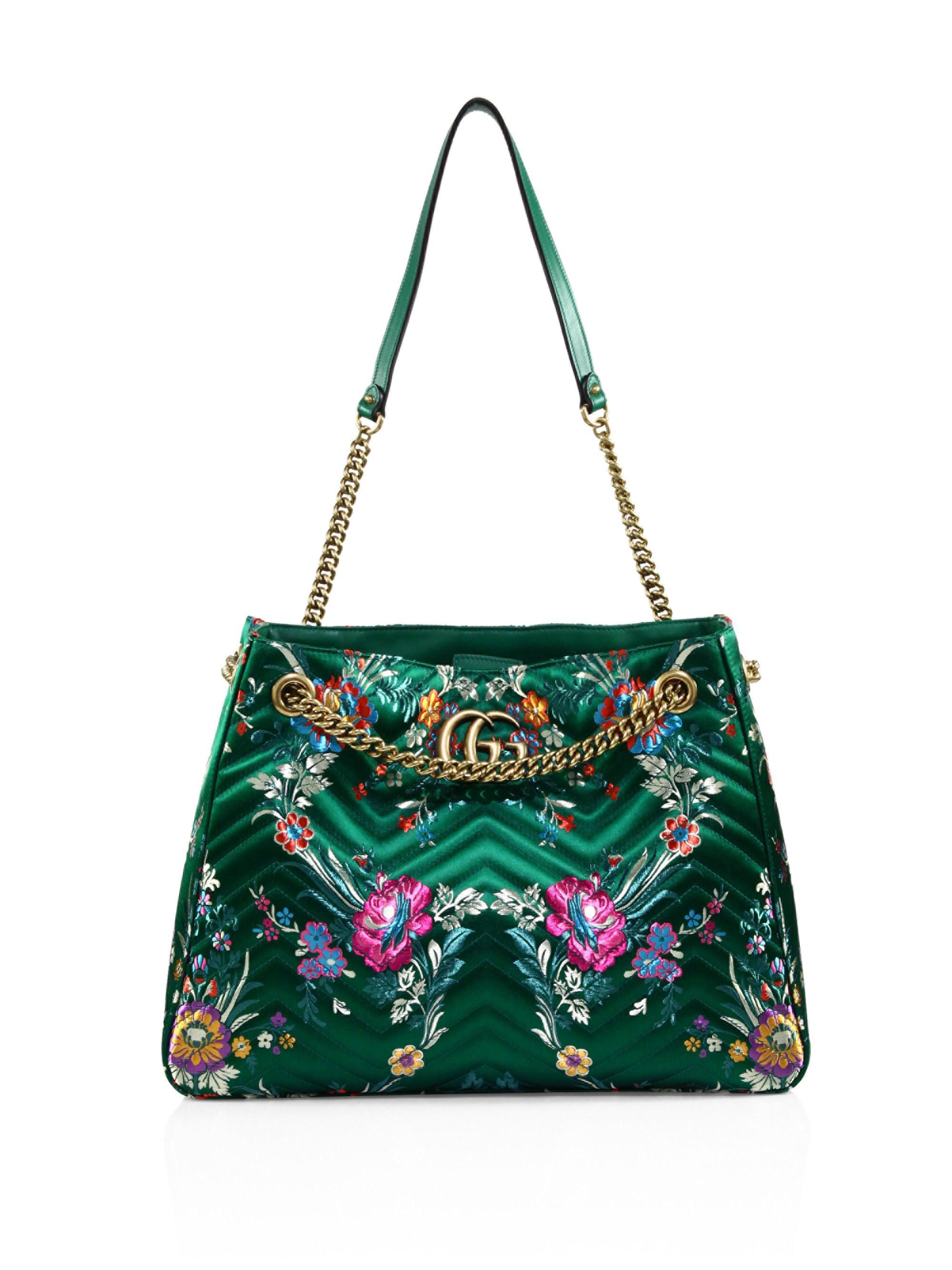 b17ec859b06738 Gucci Medium GG Marmont Matelassé Floral Jacquard Chain Shoulder Bag ...