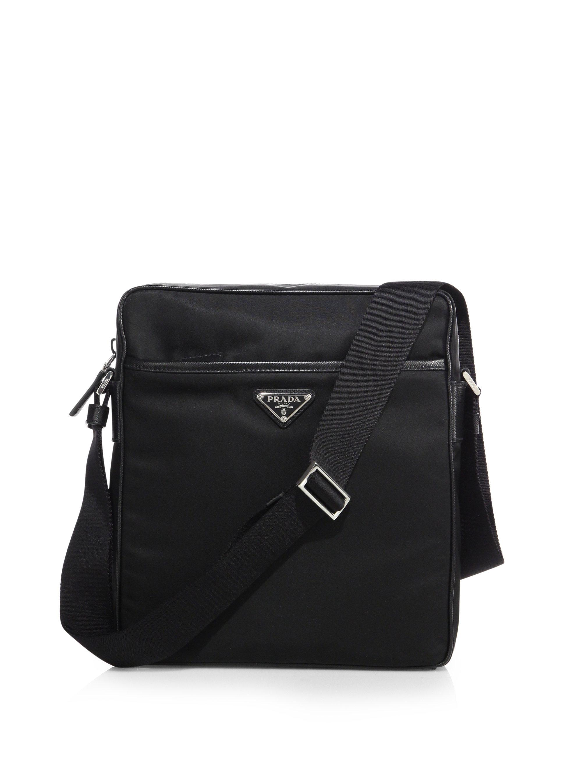 66bce4c28aea ... top quality prada nylon messenger bag with leather trim in black for men  lyst be1b4 fdf62