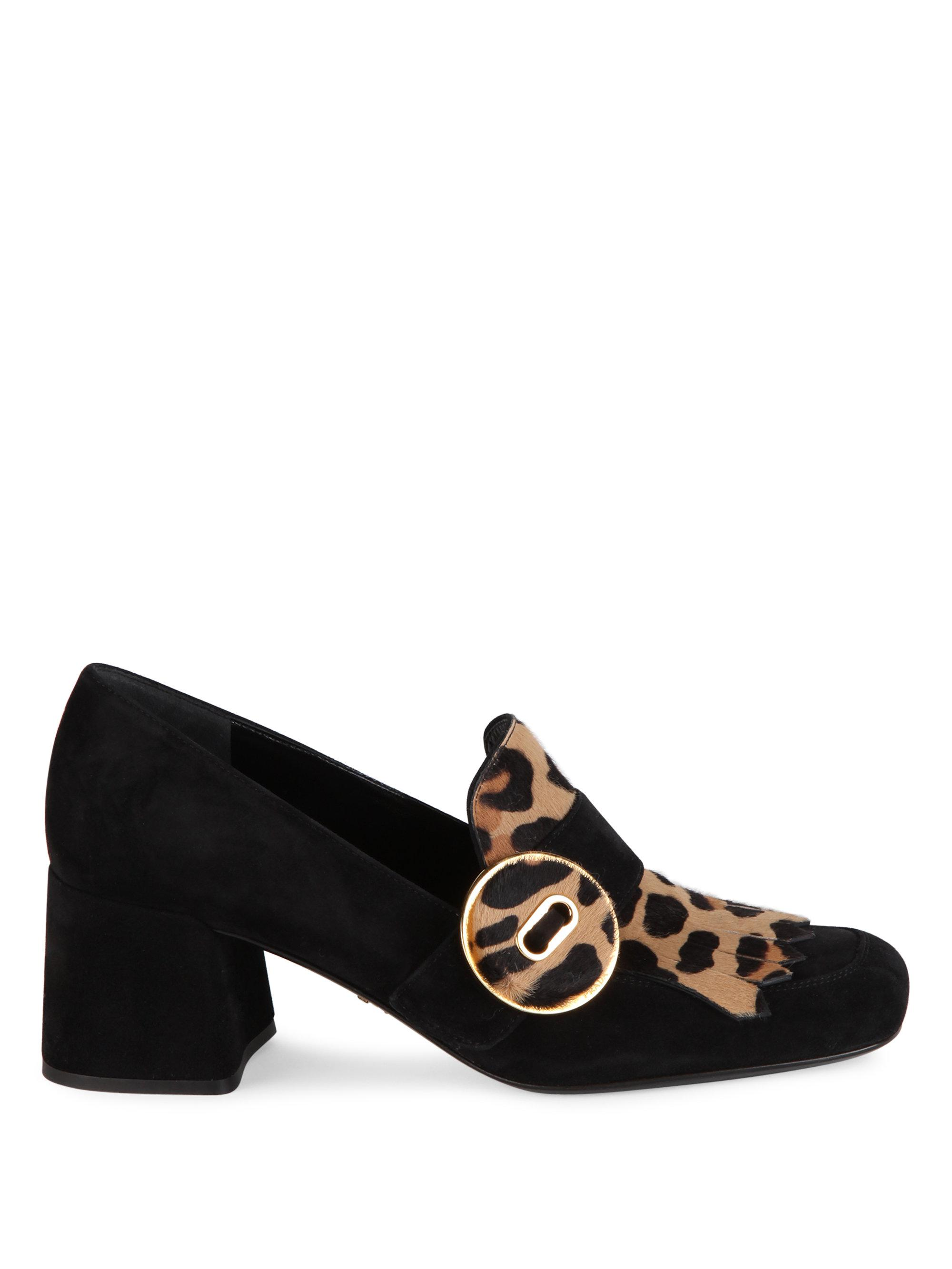 8358fd34960 Prada Suede   Leopard-print Calf Hair Kiltie Pumps in Black - Lyst