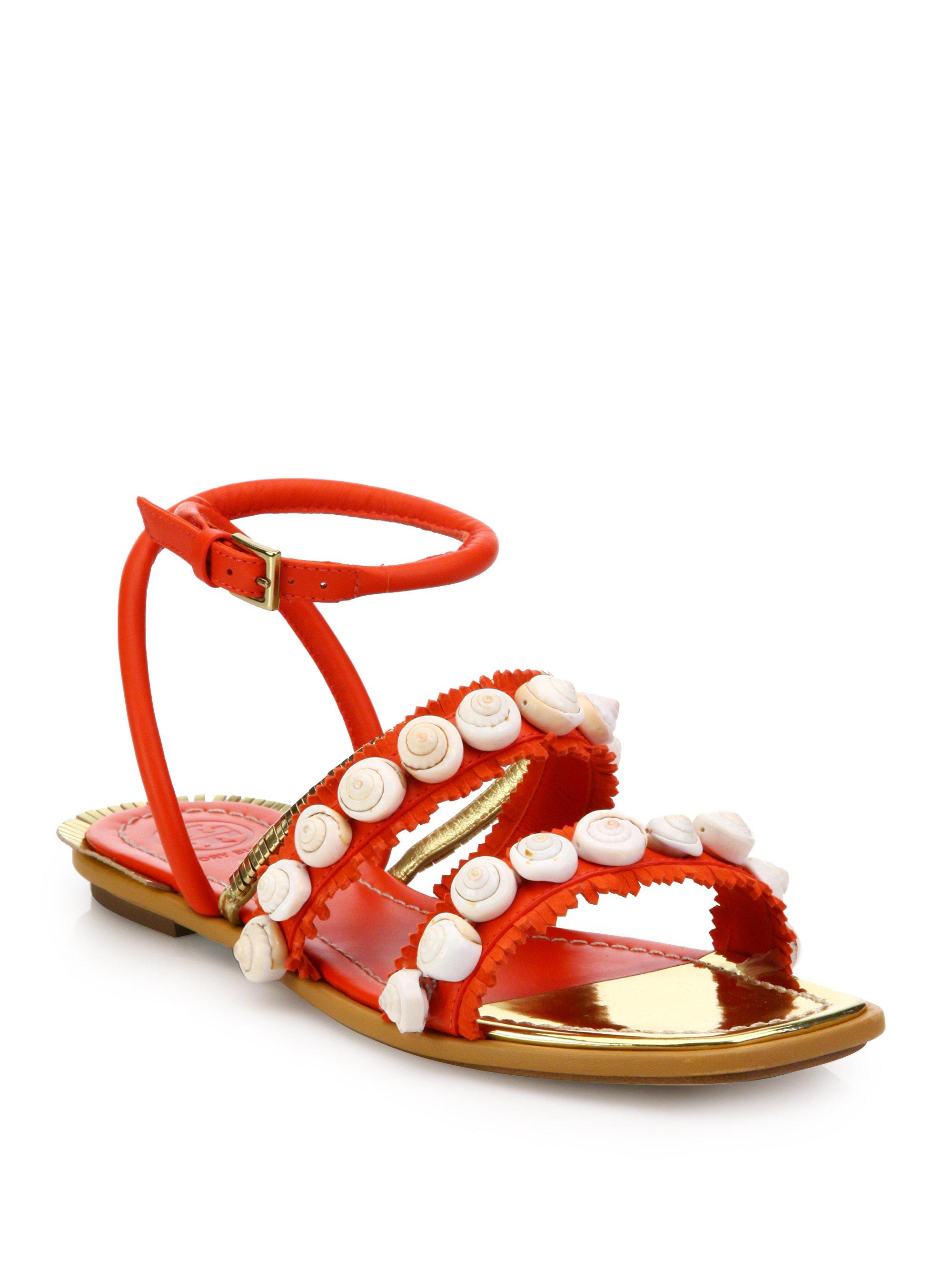 08d598fd0d0725 Lyst - Tory Burch Sinclair Embellished Leather Sandals in Red