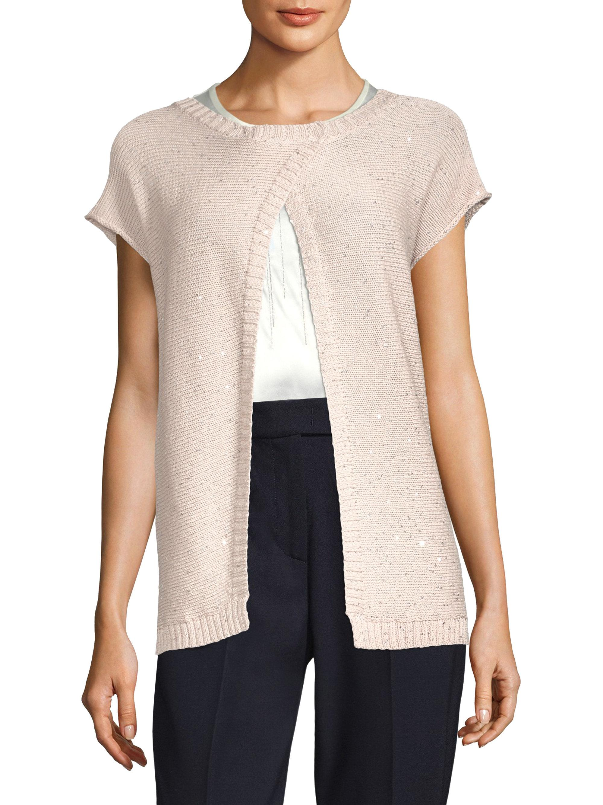 Peserico Short -sleeve Cotton Cardigan | Lyst