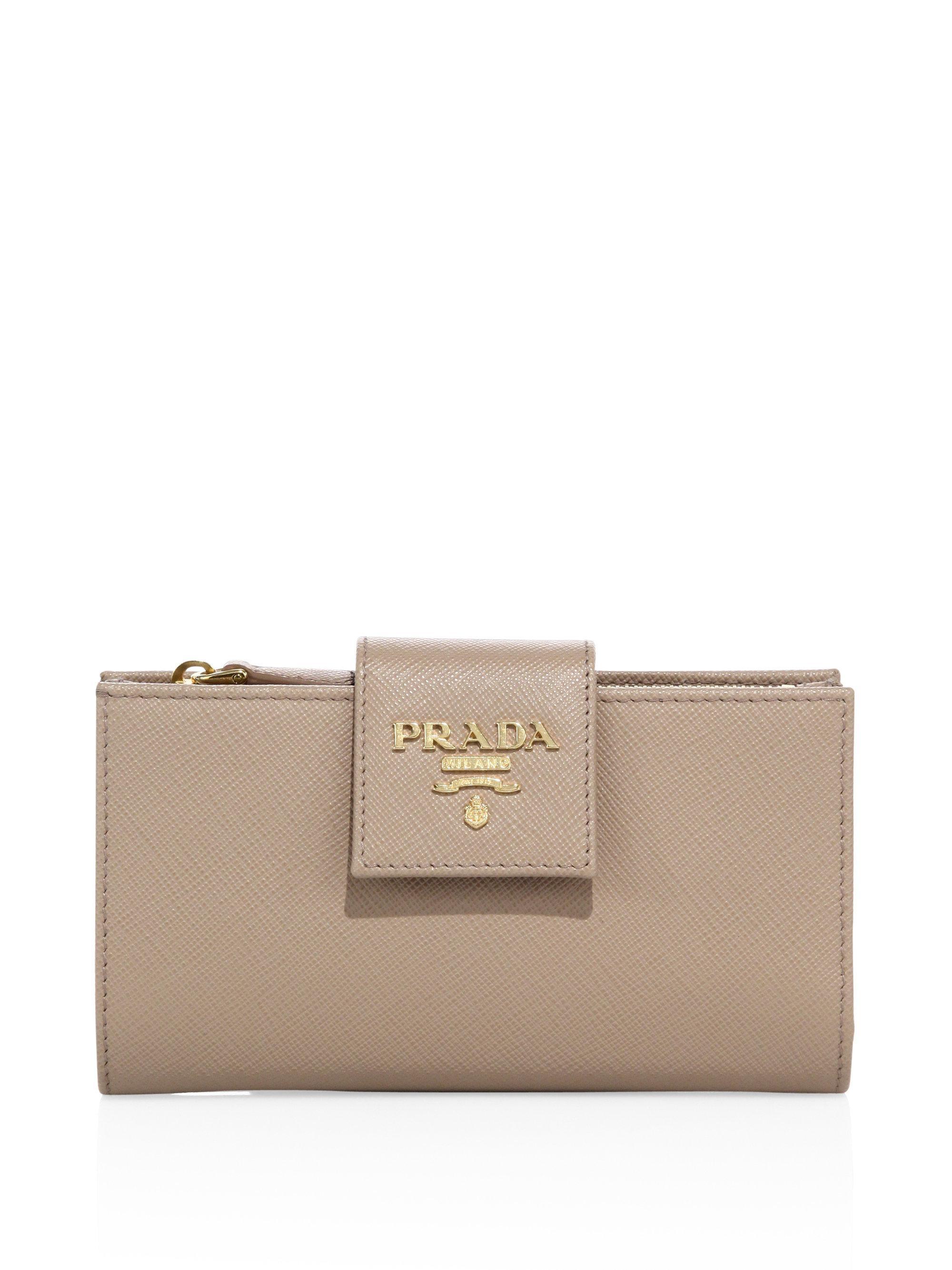 dcd00f1186ef ... where can i buy prada brown saffiano leather tab wallet lyst. view  fullscreen cb064 f62f7