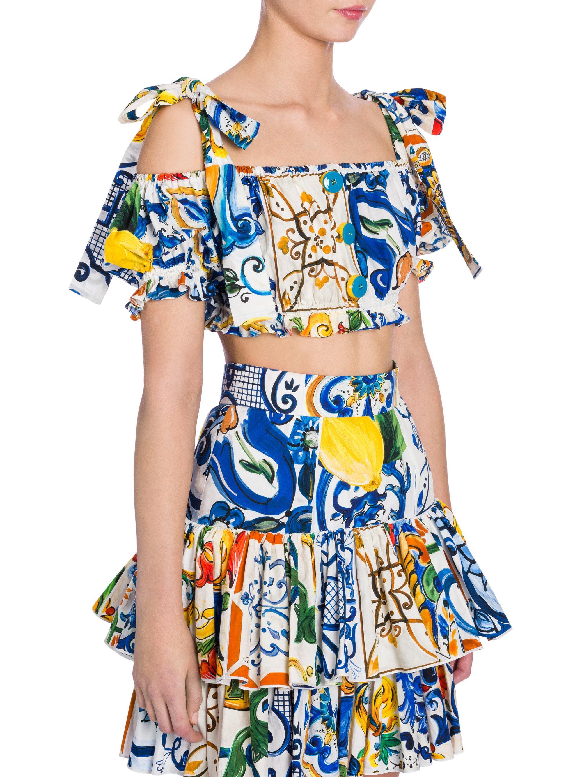 5a0bd6a1d26f16 Dolce   Gabbana Majolica-print Cotton Top in Blue - Lyst