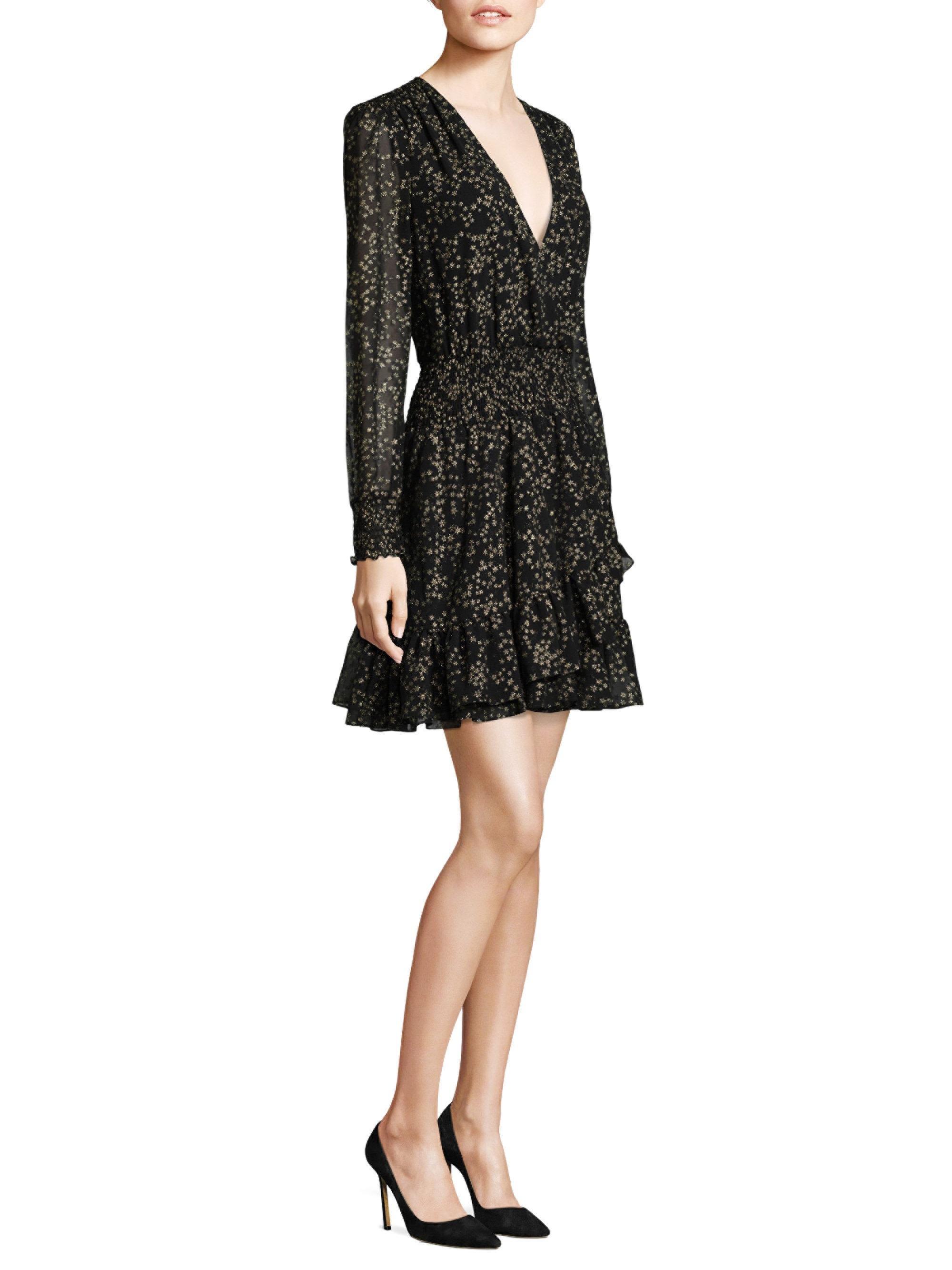 8ae26bf6cd7 MICHAEL Michael Kors Shooting Star Foil A-line Dress in Black - Lyst