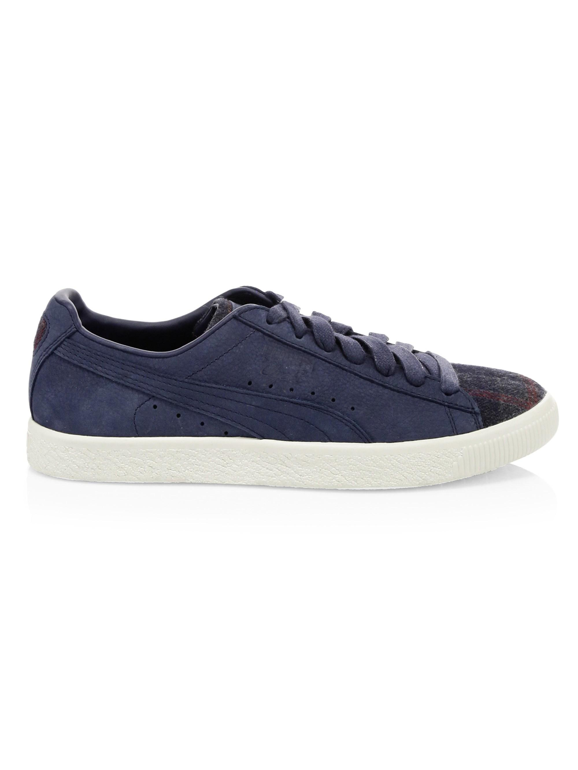 5ca3a0606989 Lyst - PUMA Clyde Suede Plaid Sneakers in Blue for Men