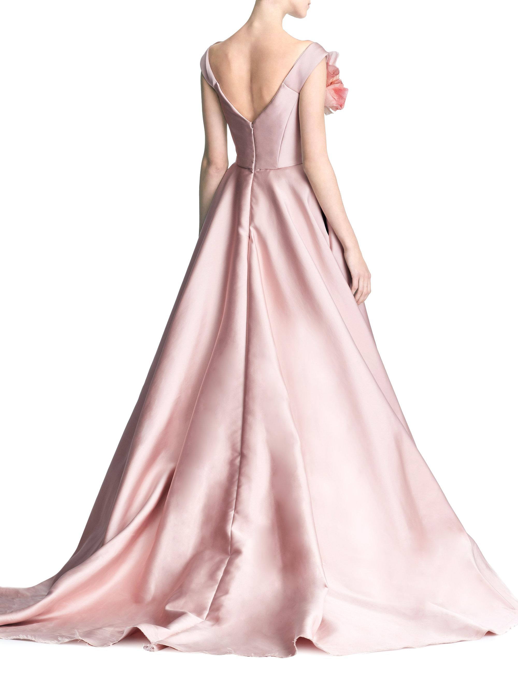 One Shoulder Color Blocked Ballgown Marchesa af6KSD