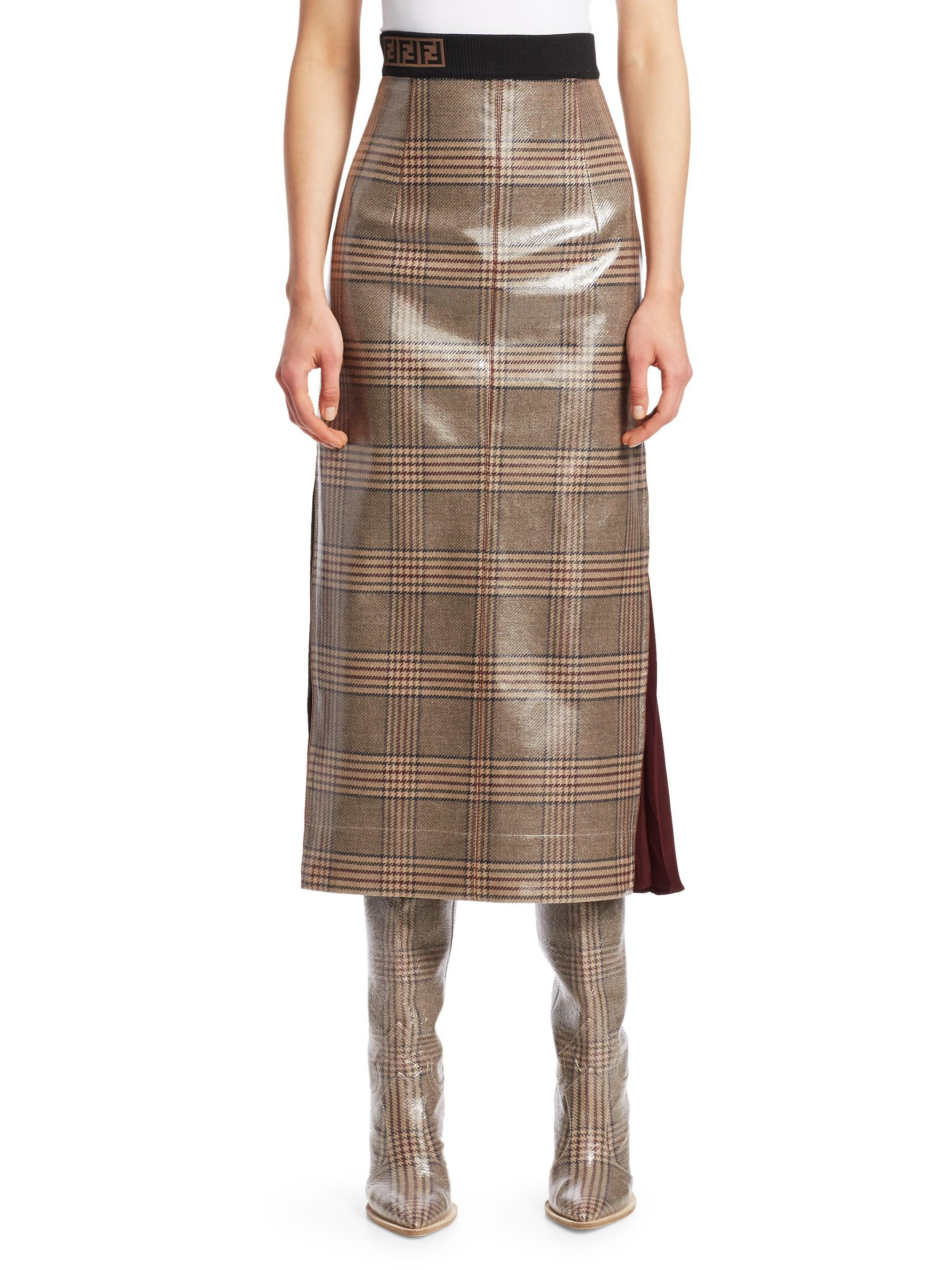 256f44267b24 Fendi Glazed Check Midi Skirt in Brown - Lyst