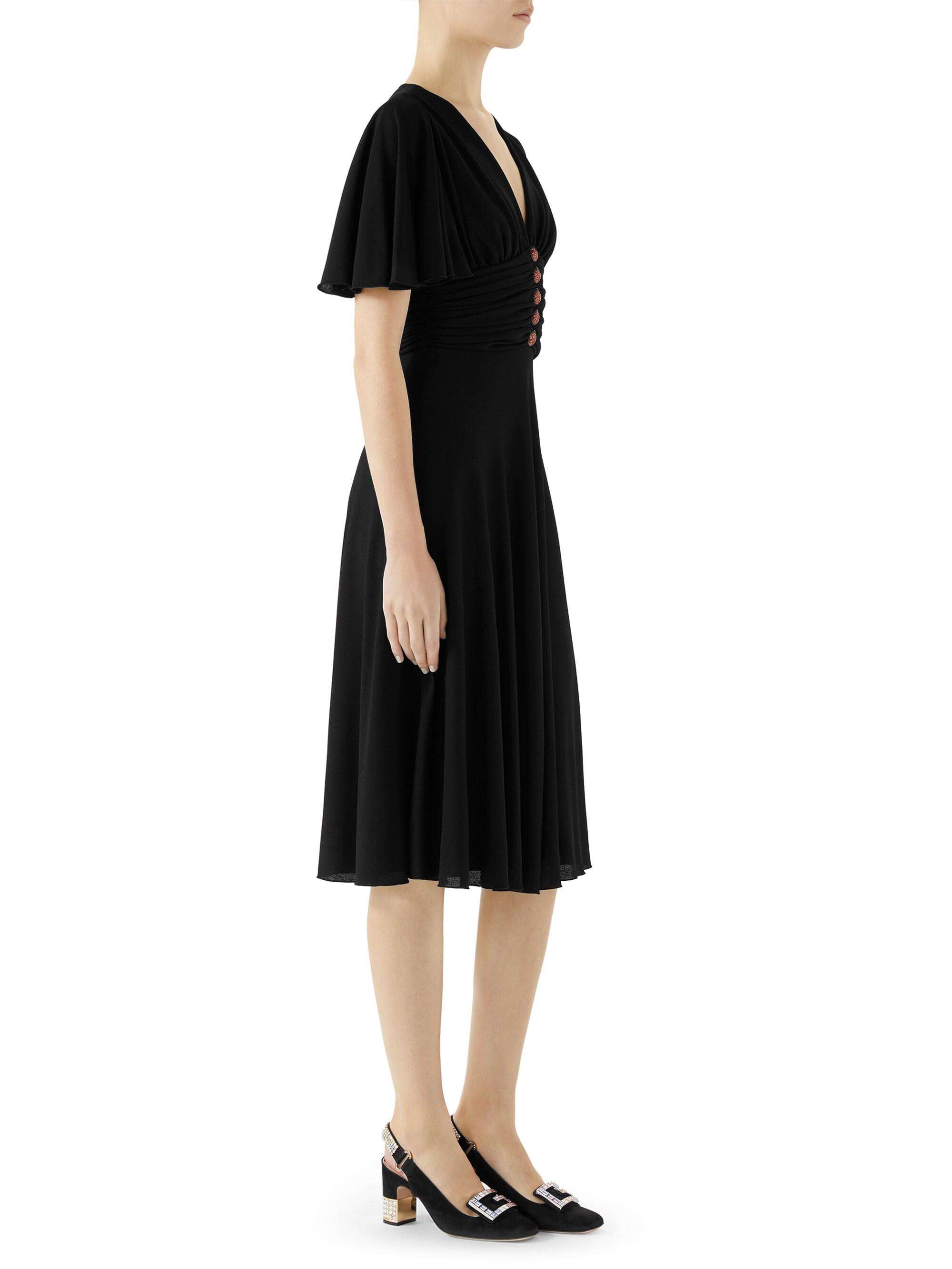 adbf1cc4b Gucci Flutter-sleeve Jersey Ruched Dress in Black - Lyst