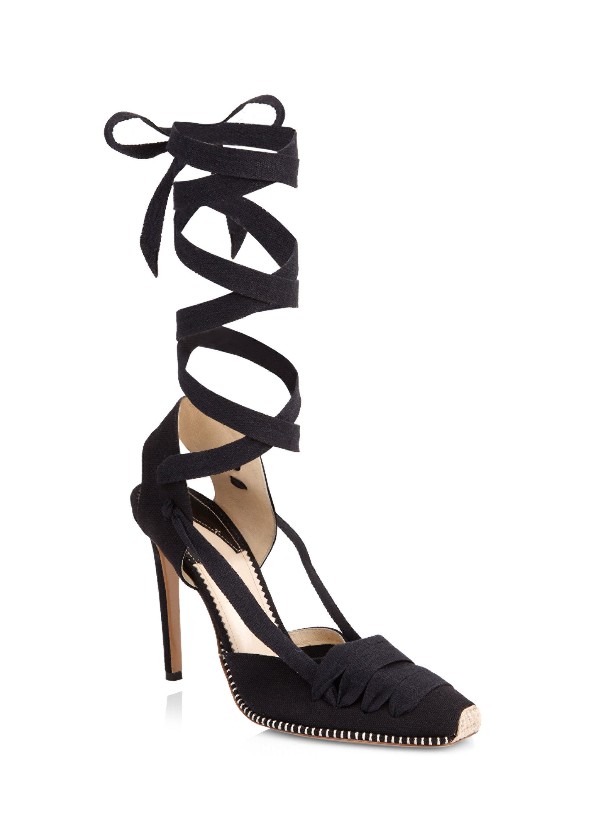 Altuzarra. Women's Black D'orsay Espadrille Stiletto Heel Sandals