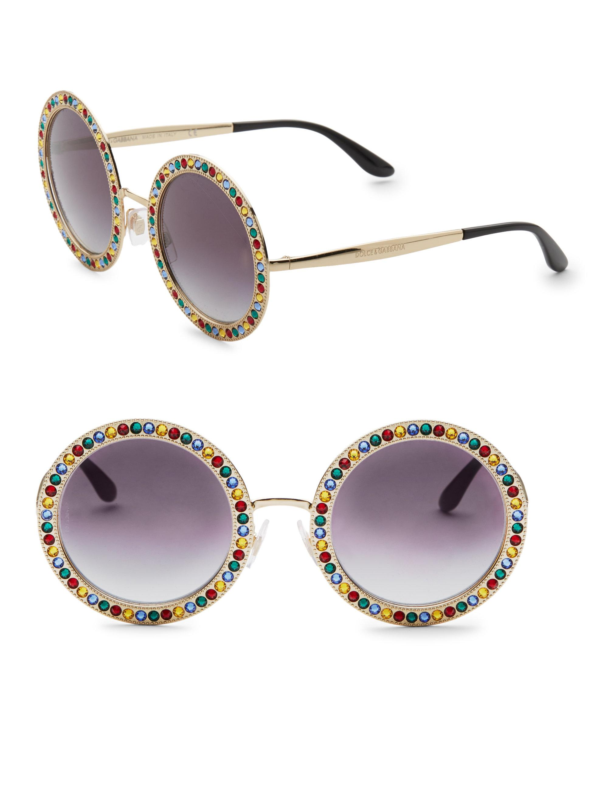 8c65fd8e79e Lyst - Dolce   Gabbana 51mm Crystal-trim Round Sunglasses in Pink