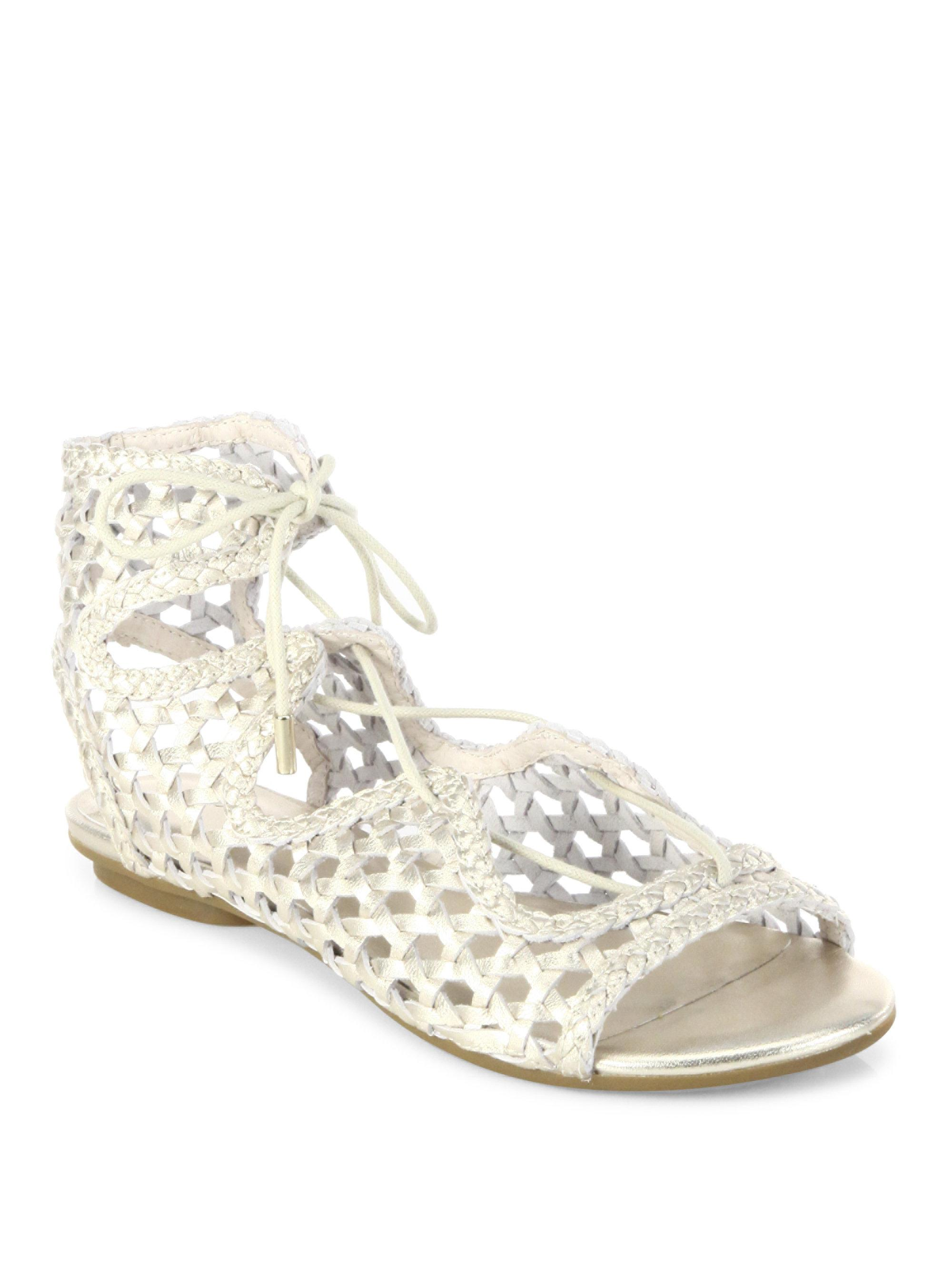 Joie Fannie Woven Metallic Leather Lace-Up Sandals XrFkpyw