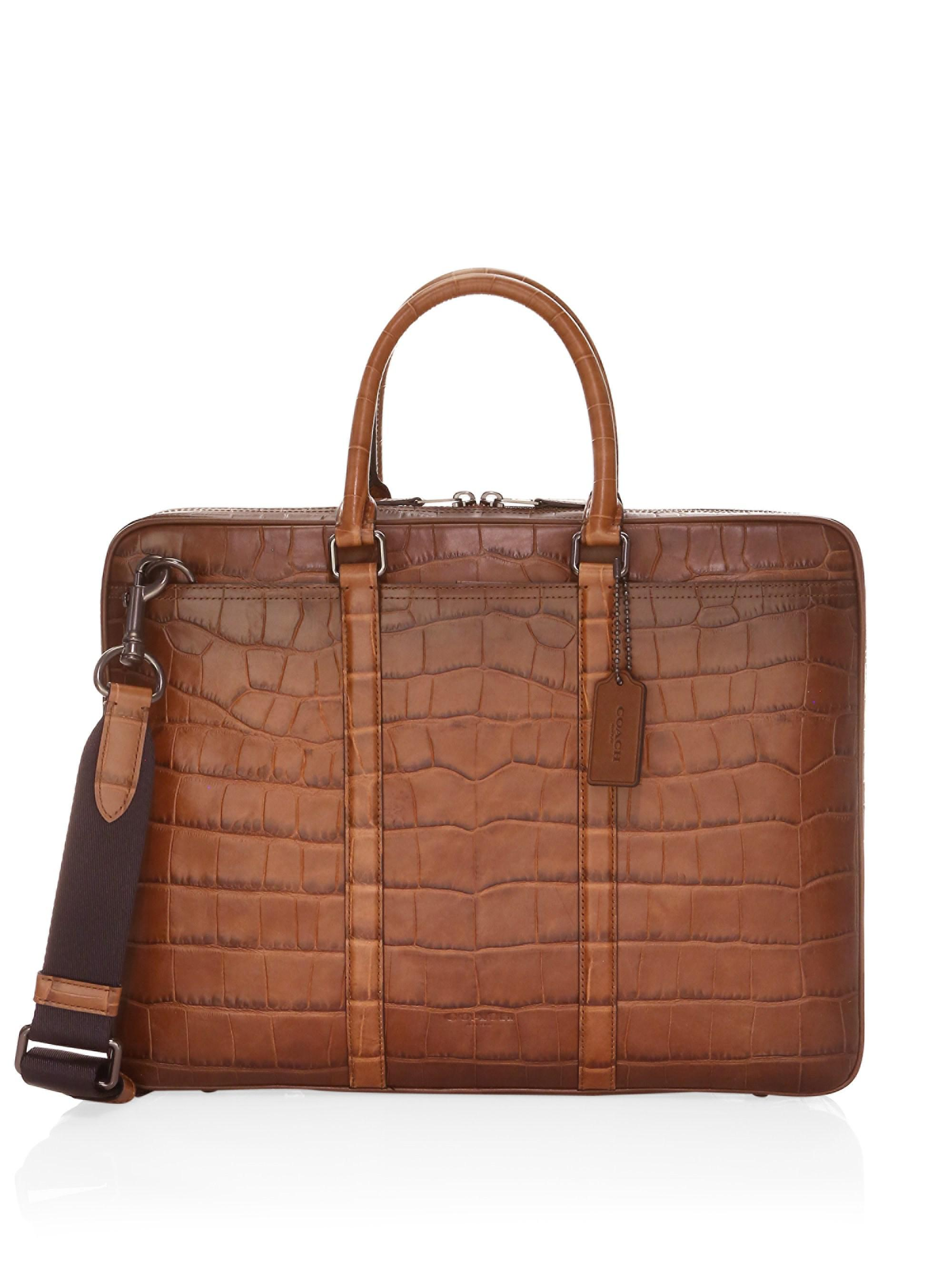 e1e1b7489fe2 Lyst - COACH Metropolitan Croc Embossed Briefcase in Brown for Men