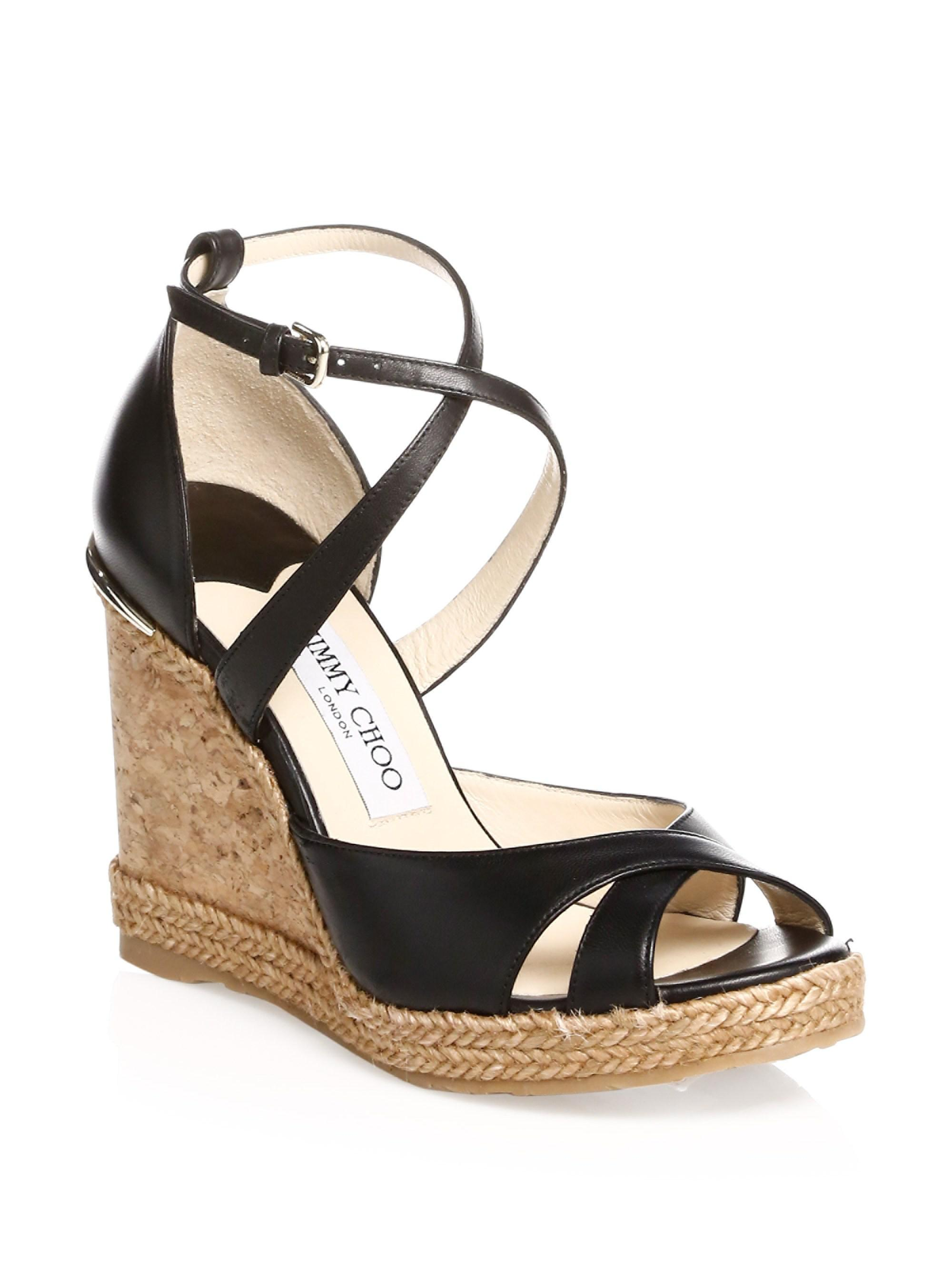 6aa8044c056 Jimmy Choo Women's Alanah Leather Wedge Sandals - Black in Black ...