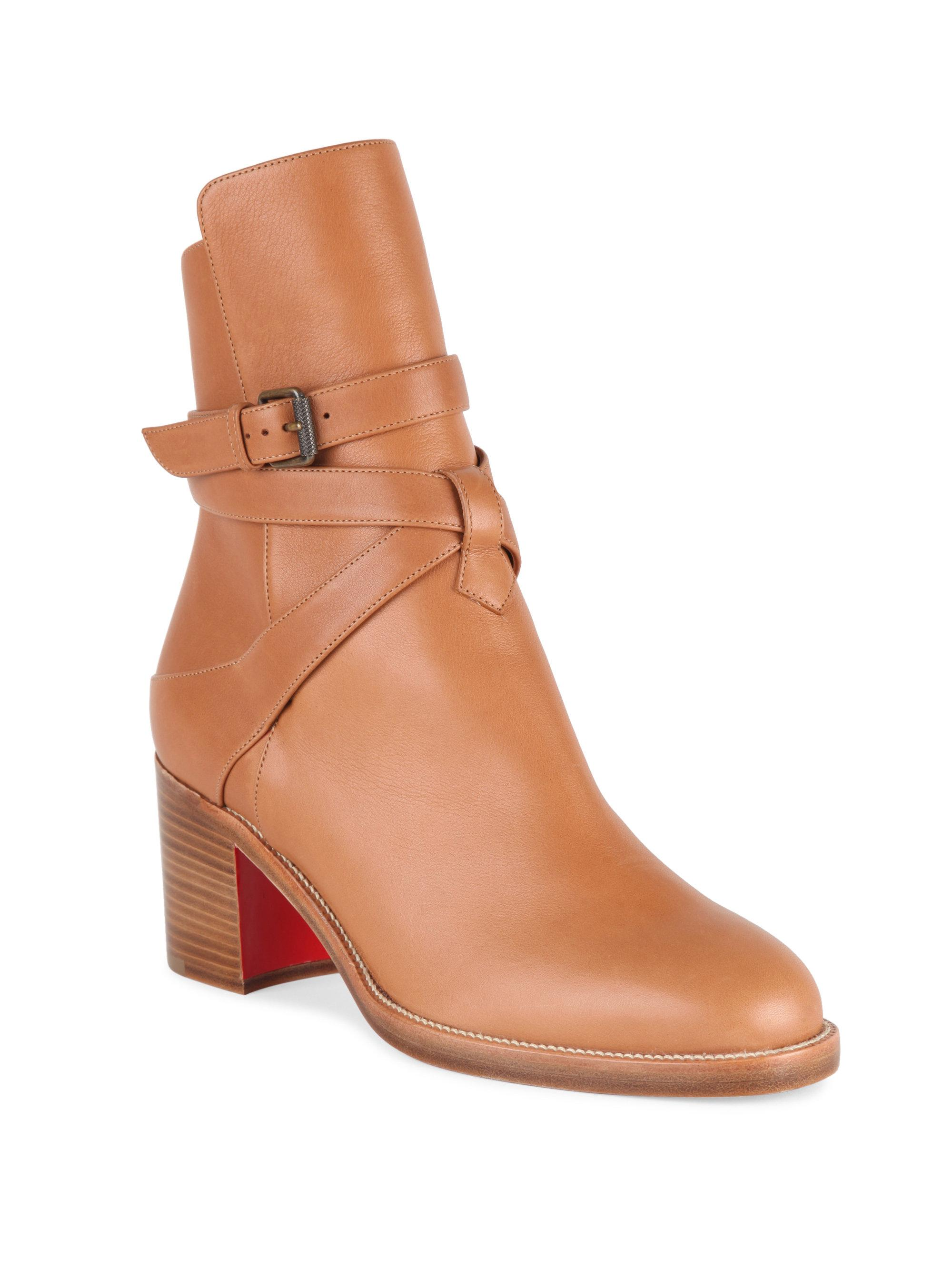 20b36cc80c4d Lyst - Christian Louboutin Karistrap 70 Leather Booties in Brown