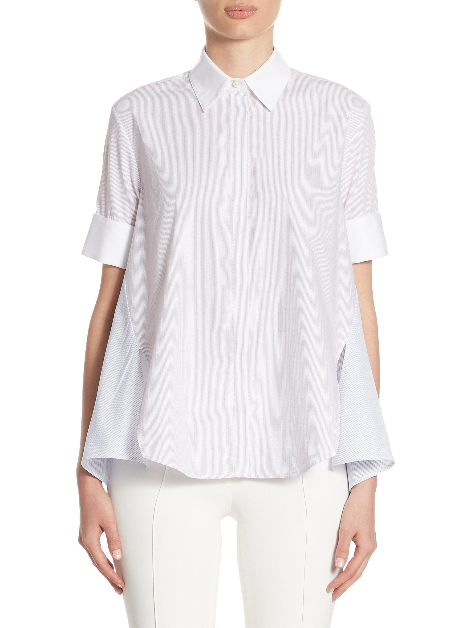 Adam lippes striped cotton trapeze shirt in white lyst for Adam lippes t shirt